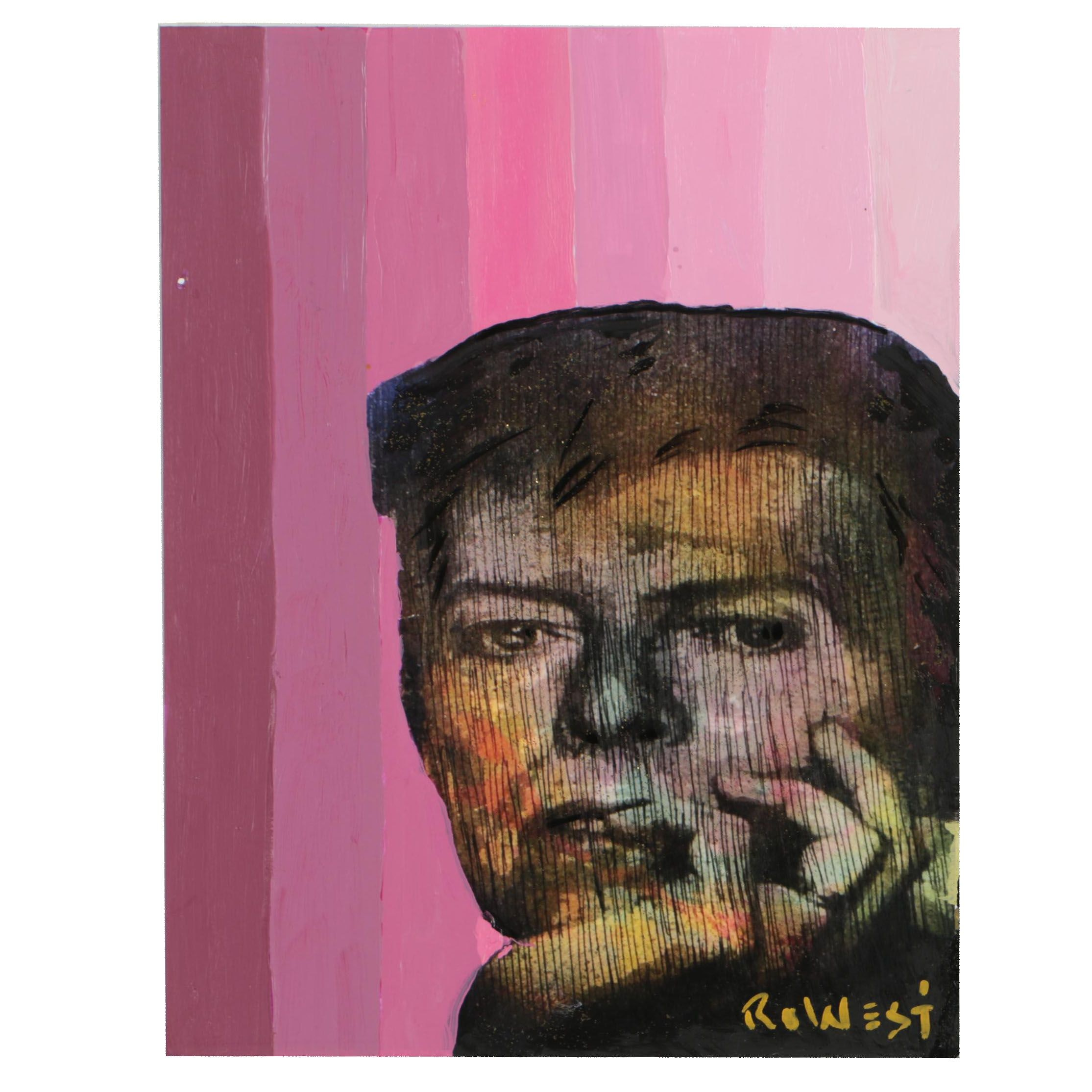 "Ro West Mixed Media Embellished Offset Lithograph ""David Bowie"""