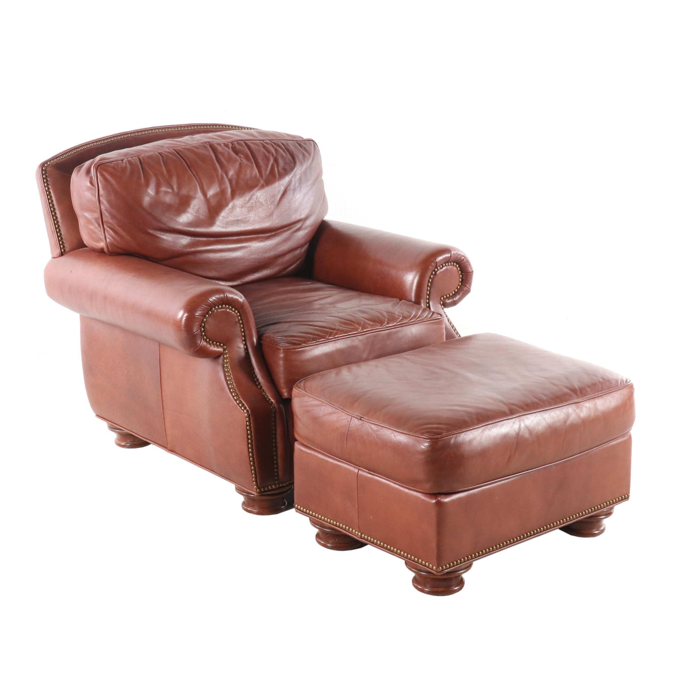 Leathercraft Brown Club Chair with Ottoman, Contemporary