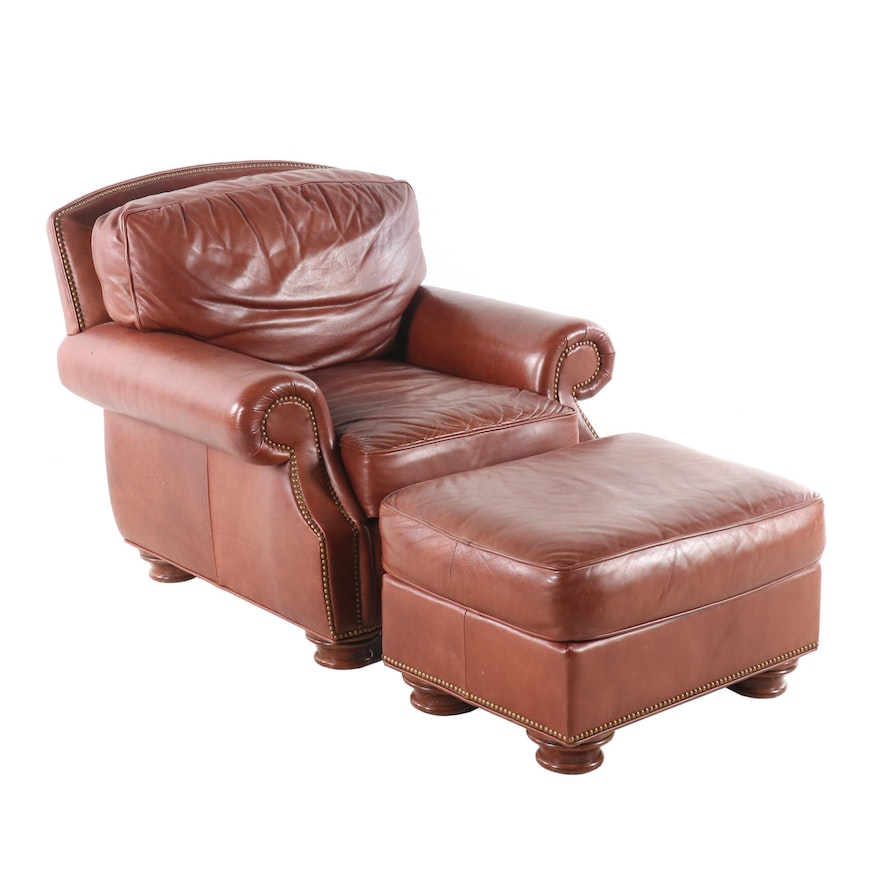 Peachy Leathercraft Brown Club Chair With Ottoman Contemporary Cjindustries Chair Design For Home Cjindustriesco