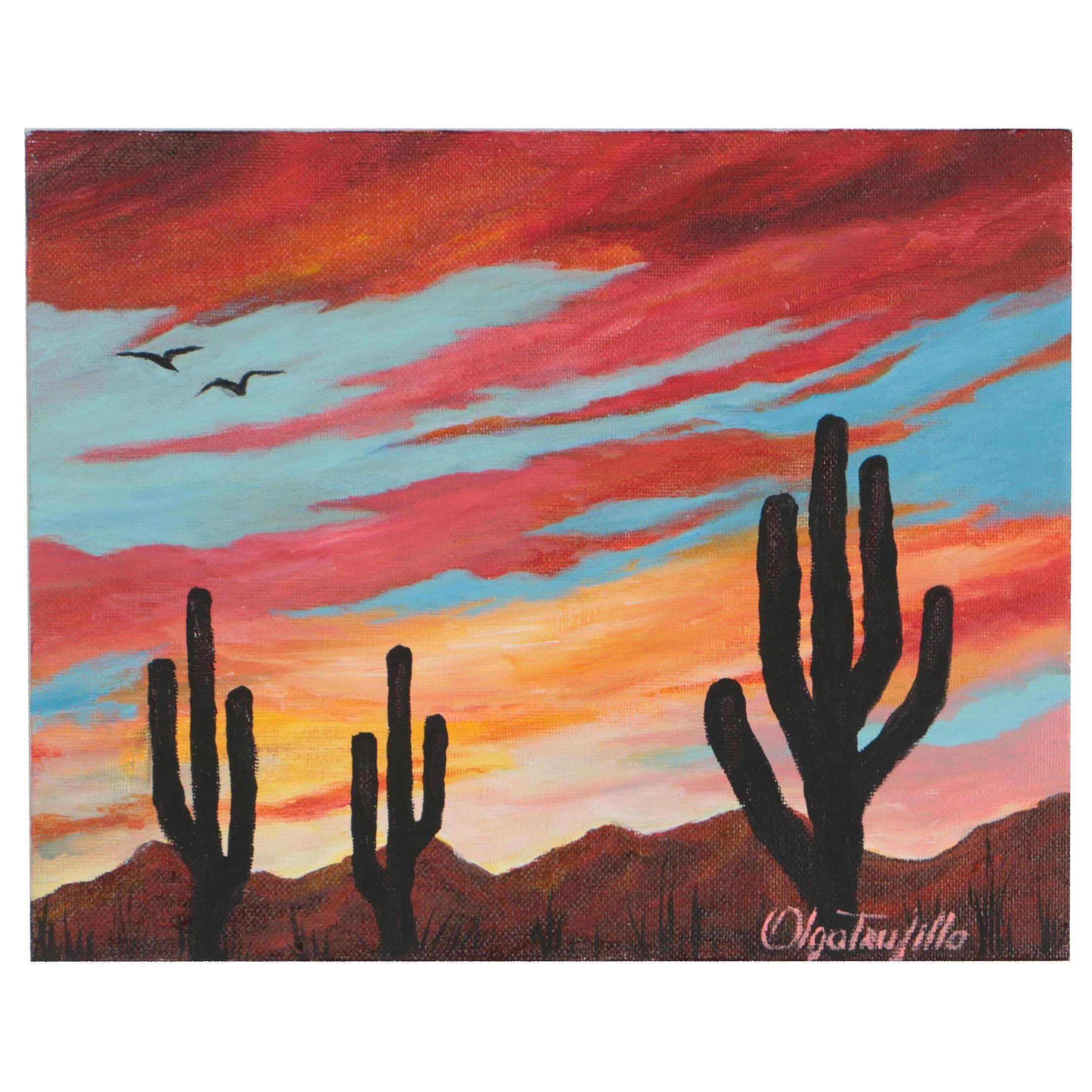 Olga Trujillo Acrylic Painting Arizona Landscape