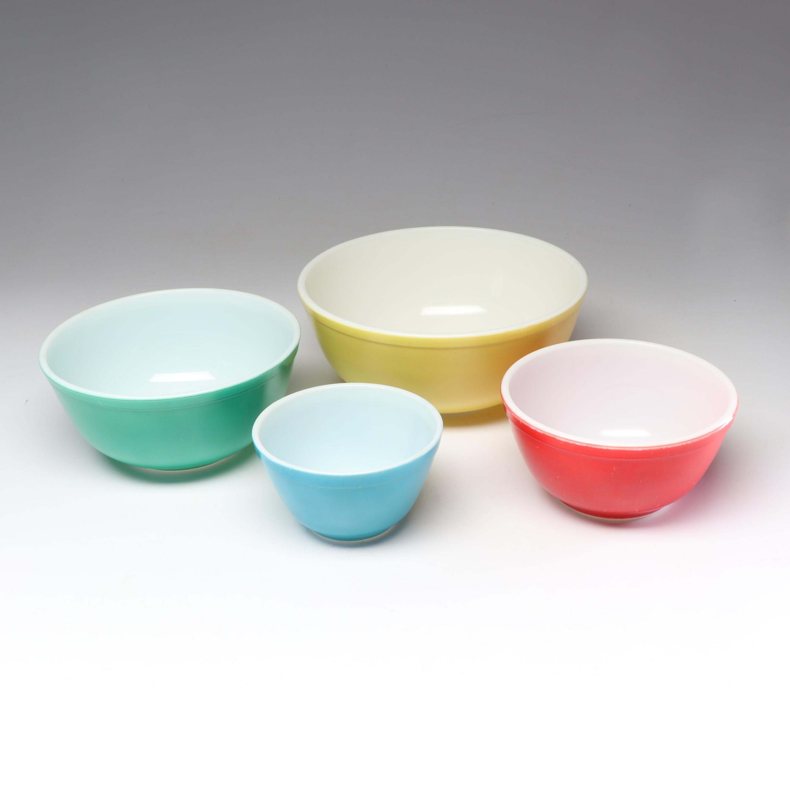 """Mid-Century Pyrex """"Primary Colors"""" Mixing Bowls"""
