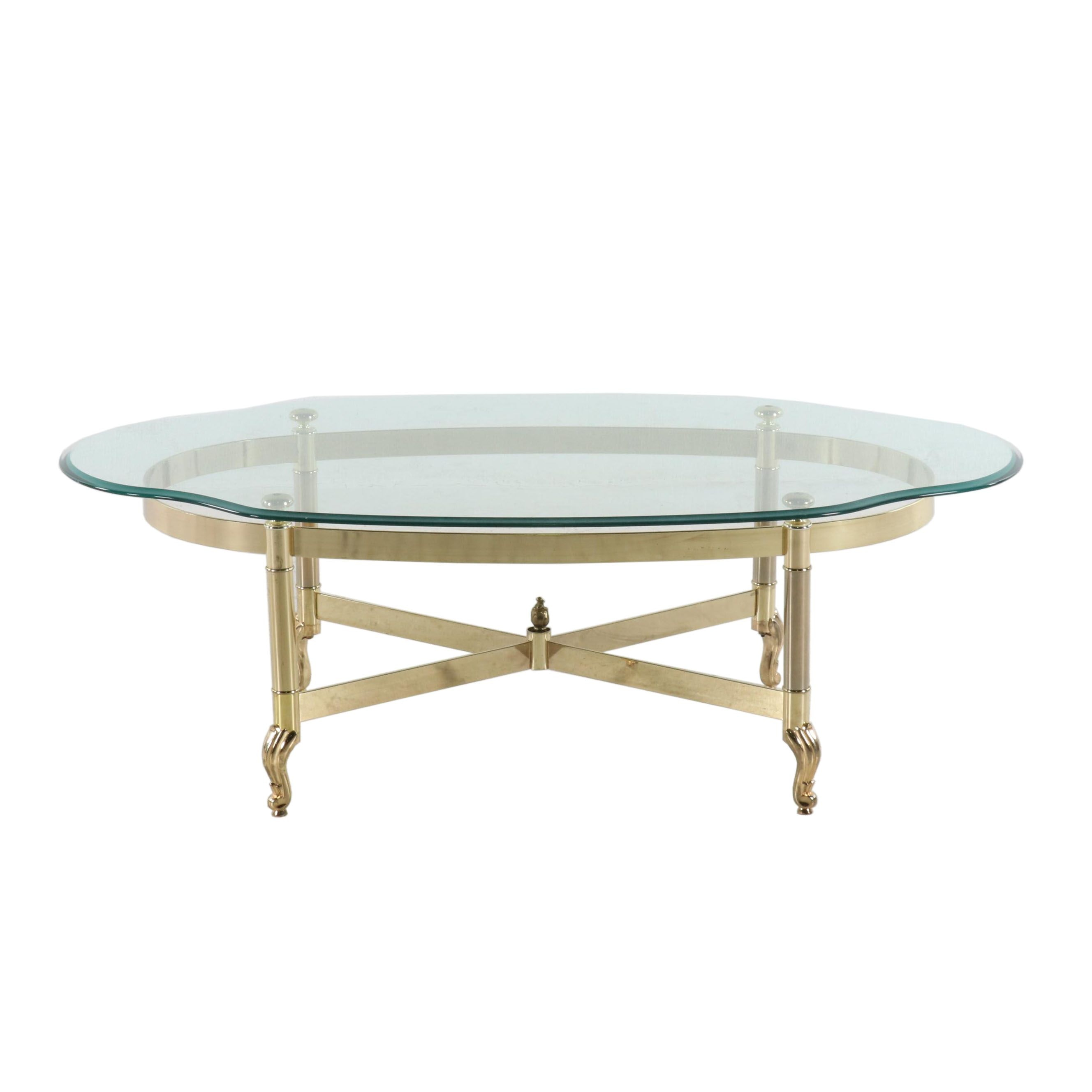 Transitional Brass And Glass Top Coffee Table, Late 20th Century