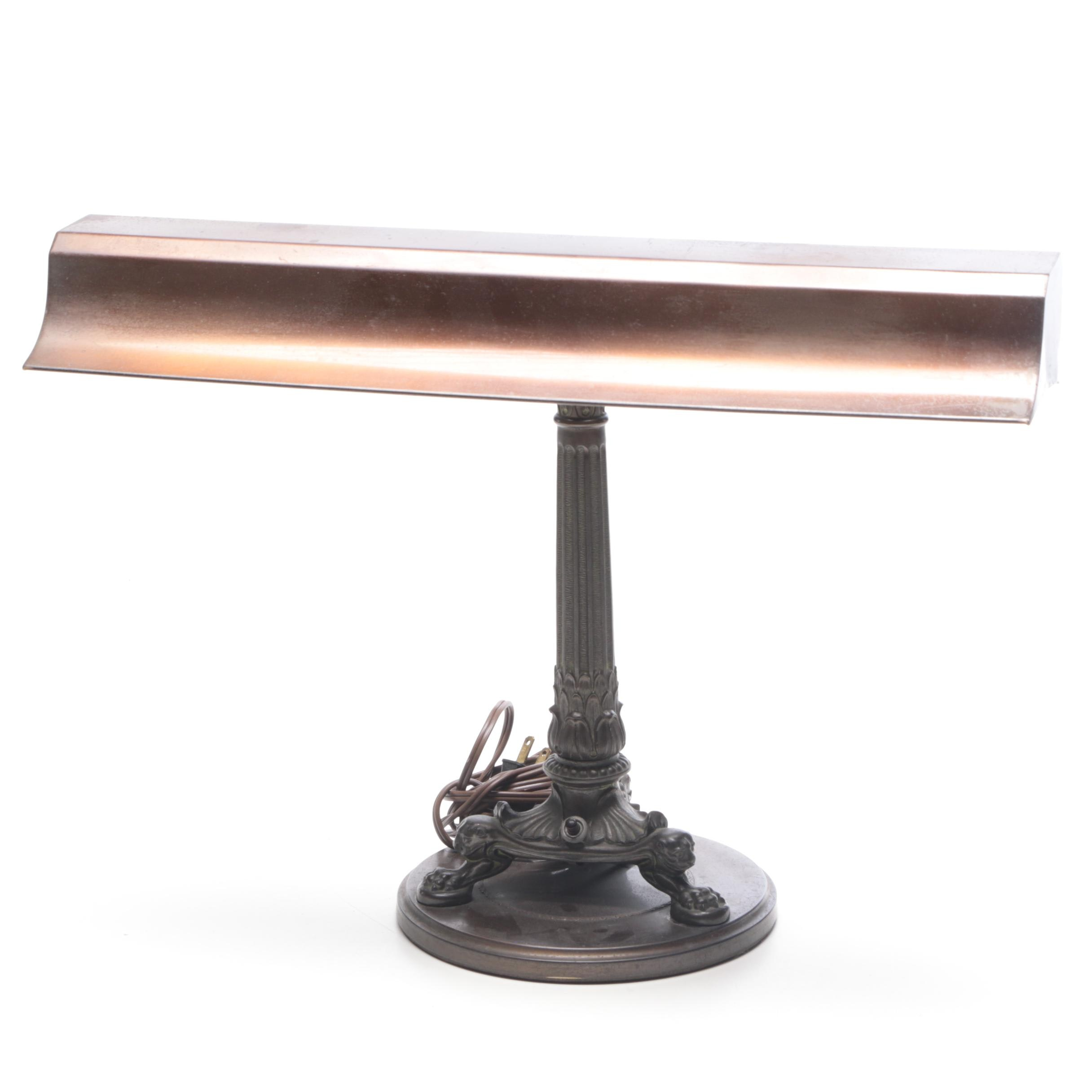 Bronze Finish Emeralite Columnar Desk Lamp, 1920s