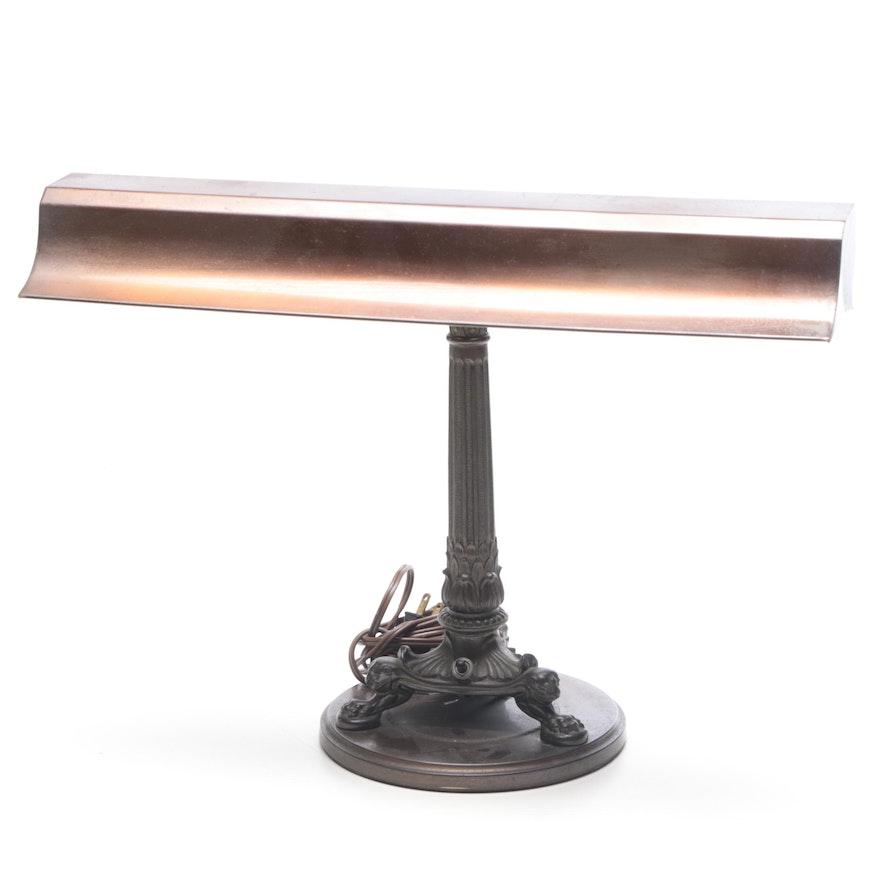Bronze Finish Emeralite Columnar Desk Lamp, 1920s
