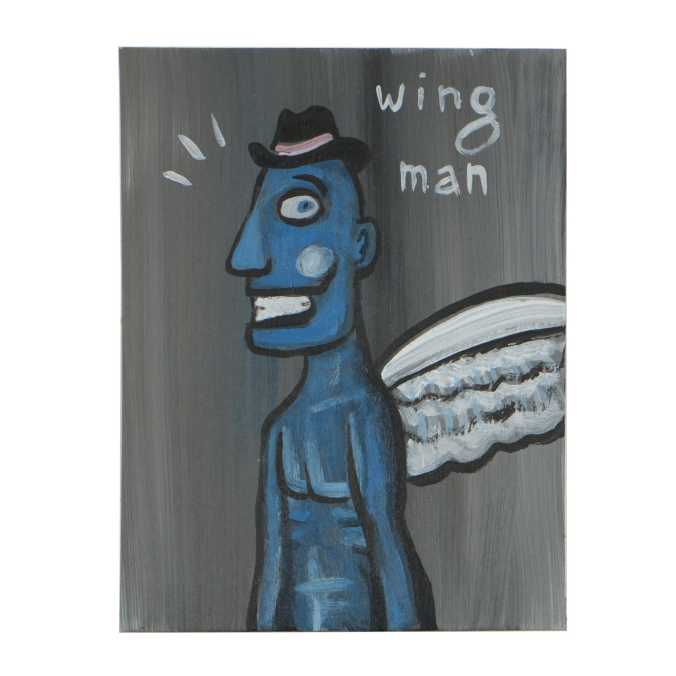 "N. Scott Carroll Outsider Pop Art Acrylic Painting ""wing man"""