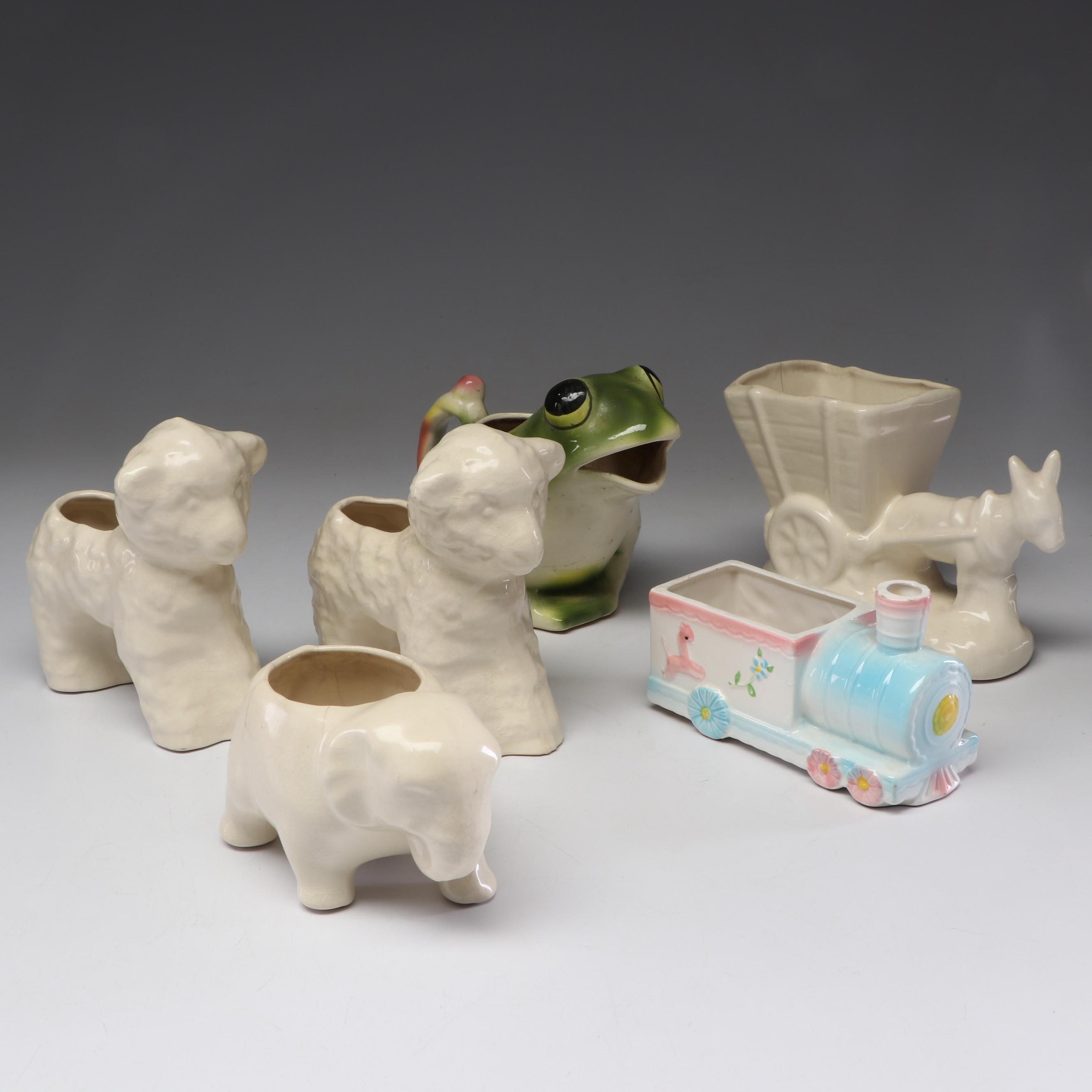 Vintage Figural Ceramic Planters and Watering Can