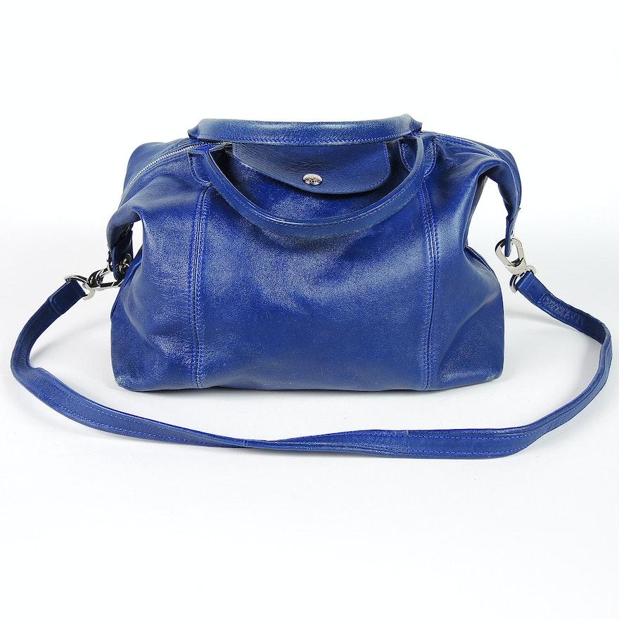 dc758178c Longchamp Le Pliage Blue Leather Handbag with Shoulder Strap   EBTH