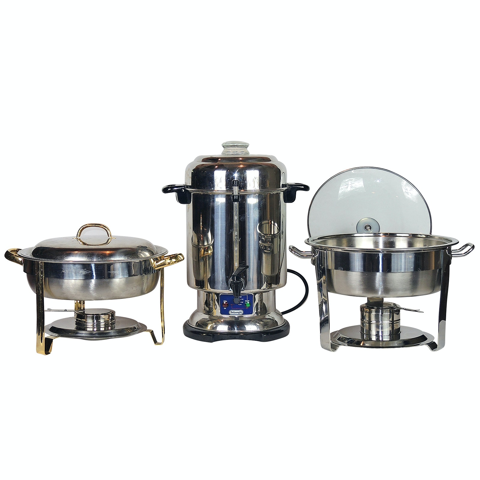 DeLonghi Ultimate Coffee Urn and Stainless Steel Chaffing Dishes