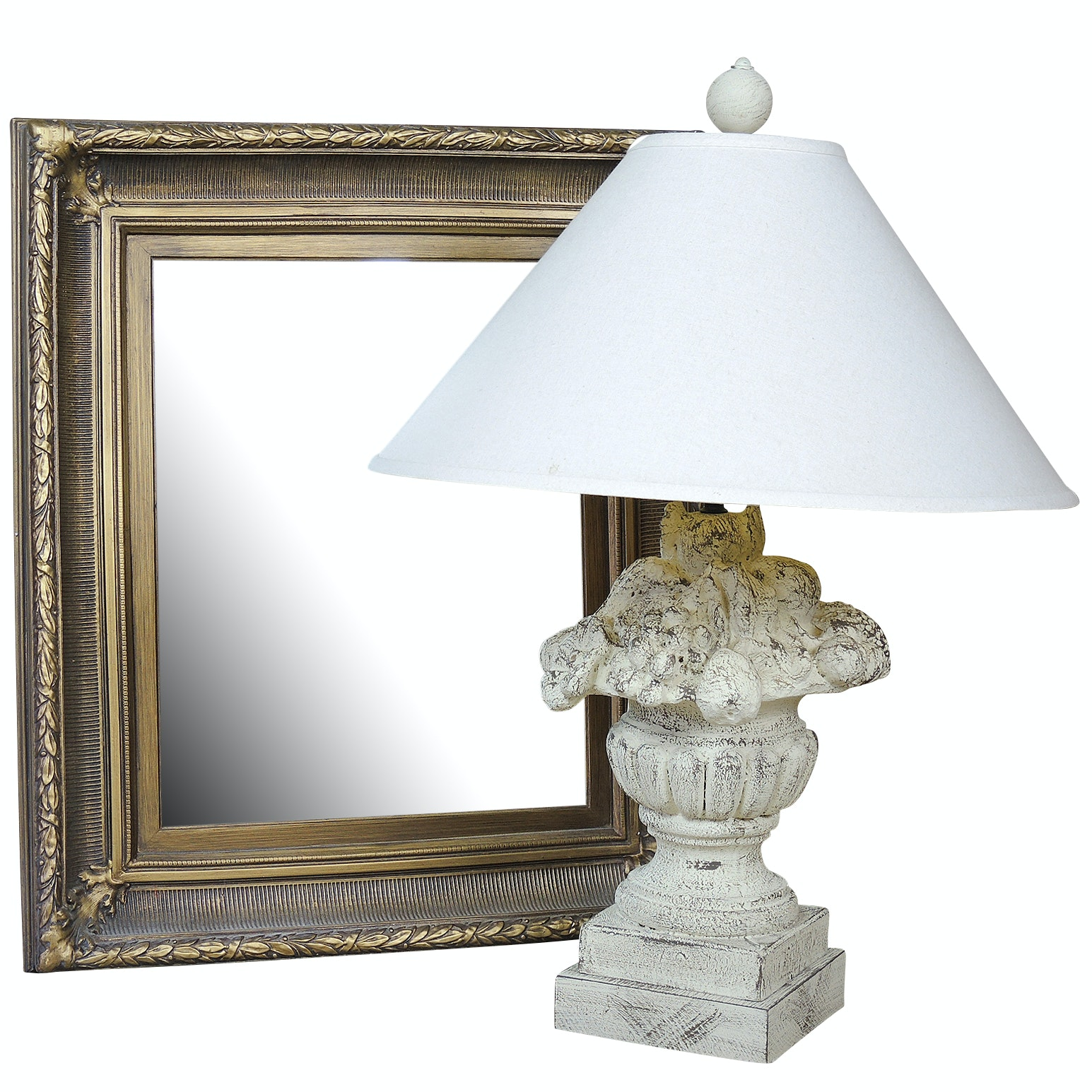 Carolina Mirror Company Wall Mirror and Urn Style Table Lamp