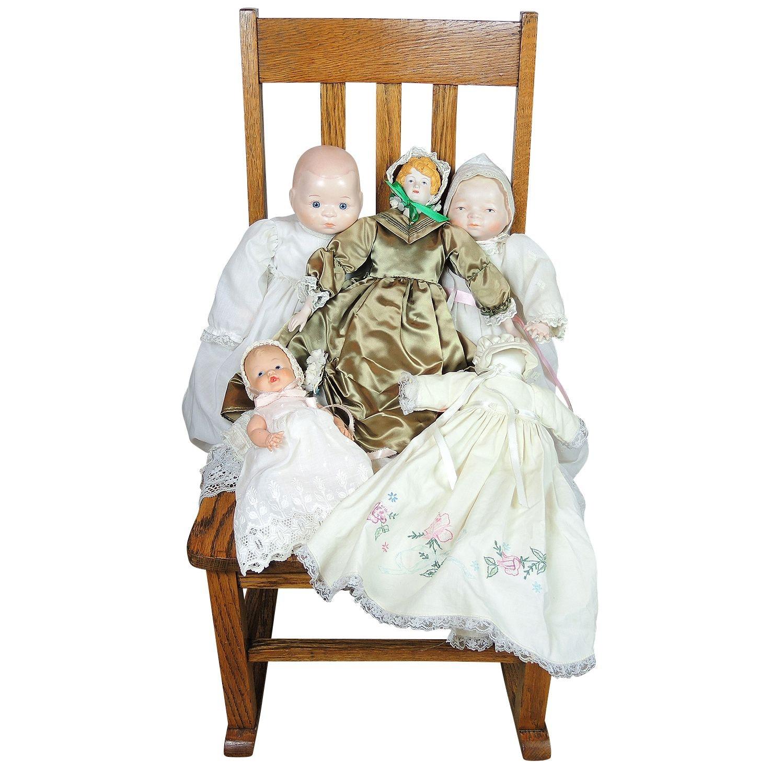 Assorted Hand Crafted Dolls and Oak Nursing Rocker