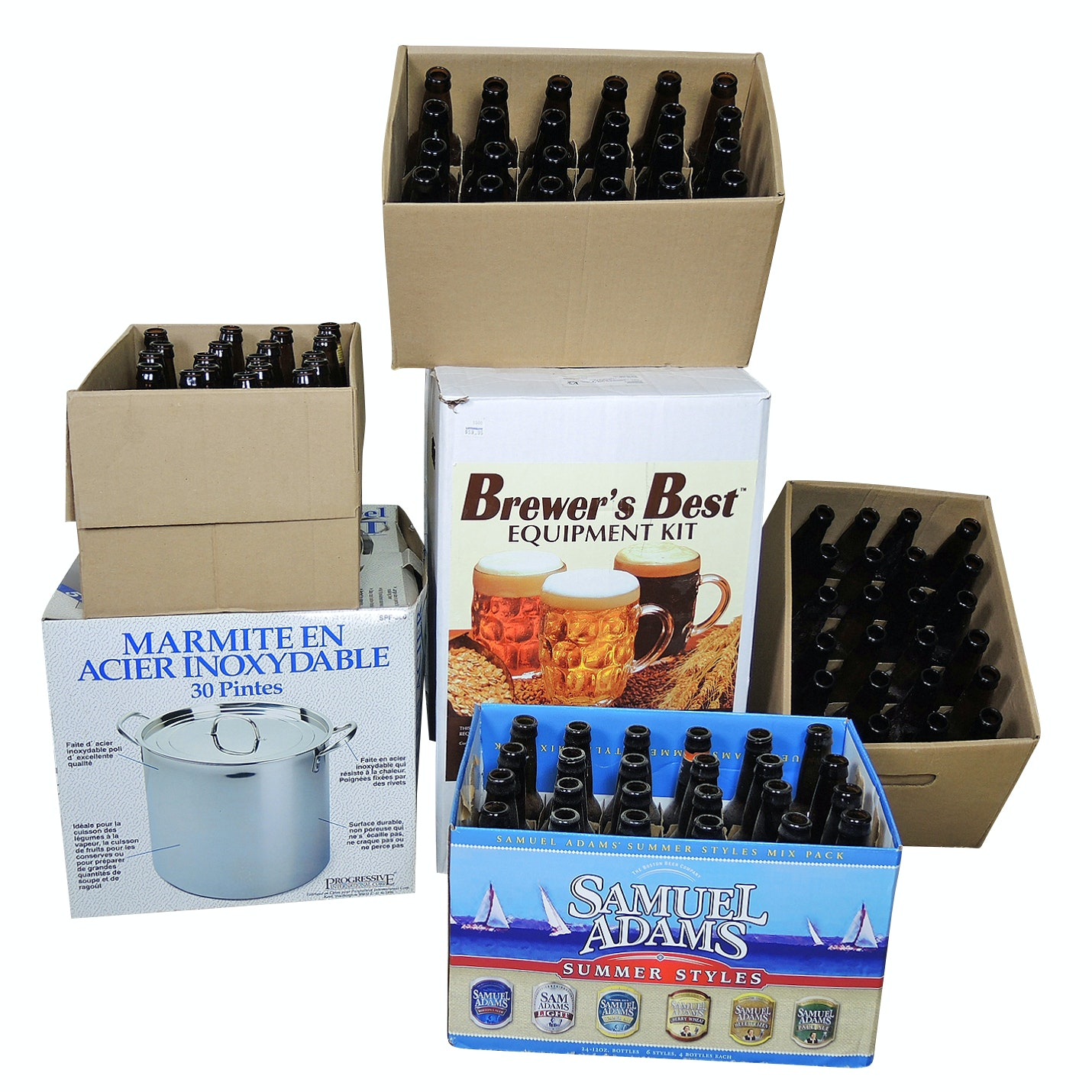 Beer Home Brewing Kit, Bottles and 30 Qt Stainless Steel Stockpot