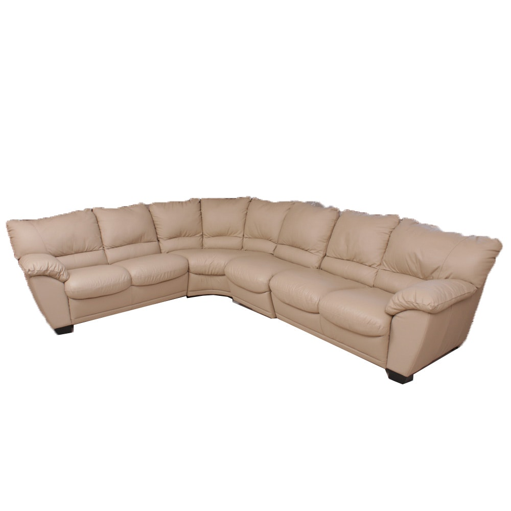 Contemporary Beige Leather Sectional Sofa