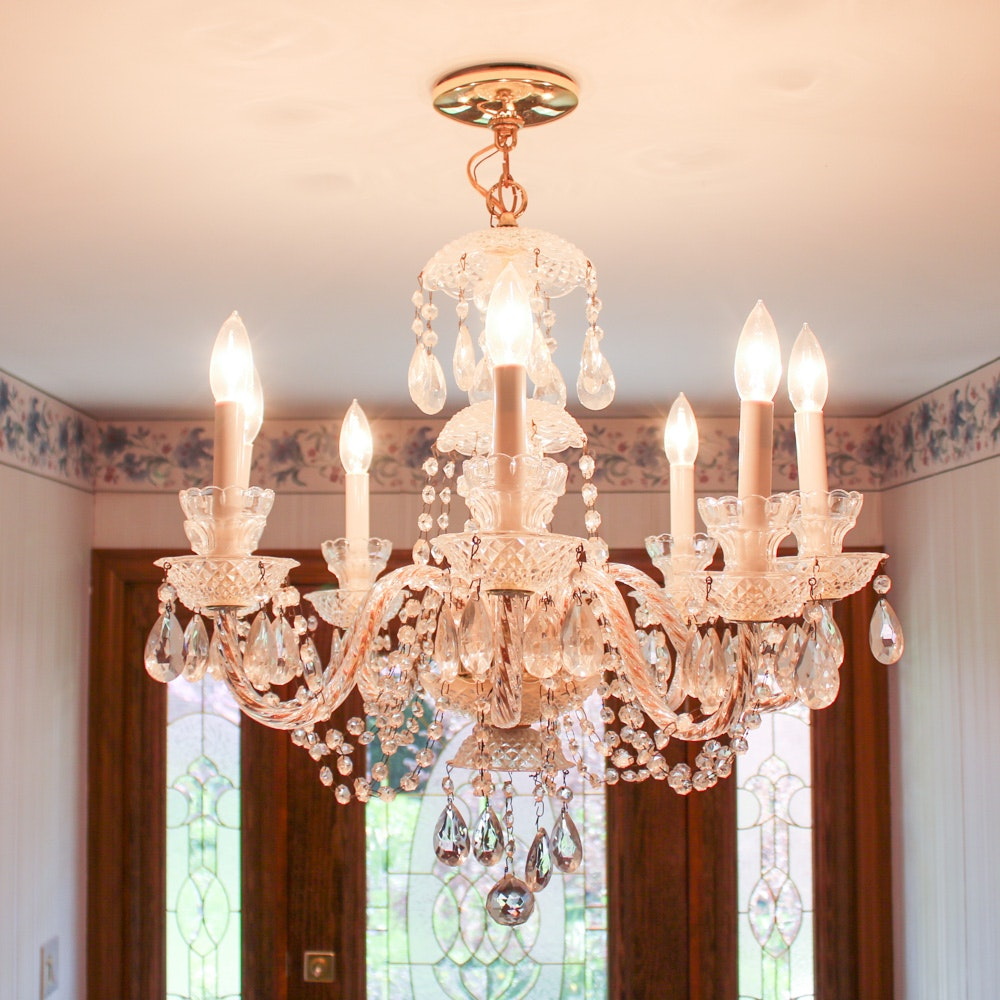 Eight Arm Crystal Chandelier with Prisms, Vintage