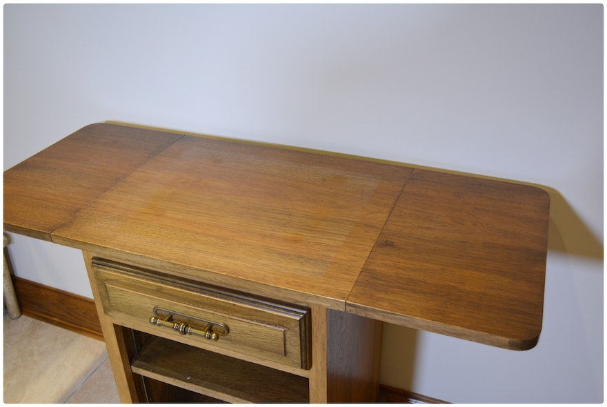 Drop Leaf Wooden Small Work Table on Casters, Contemporary ...