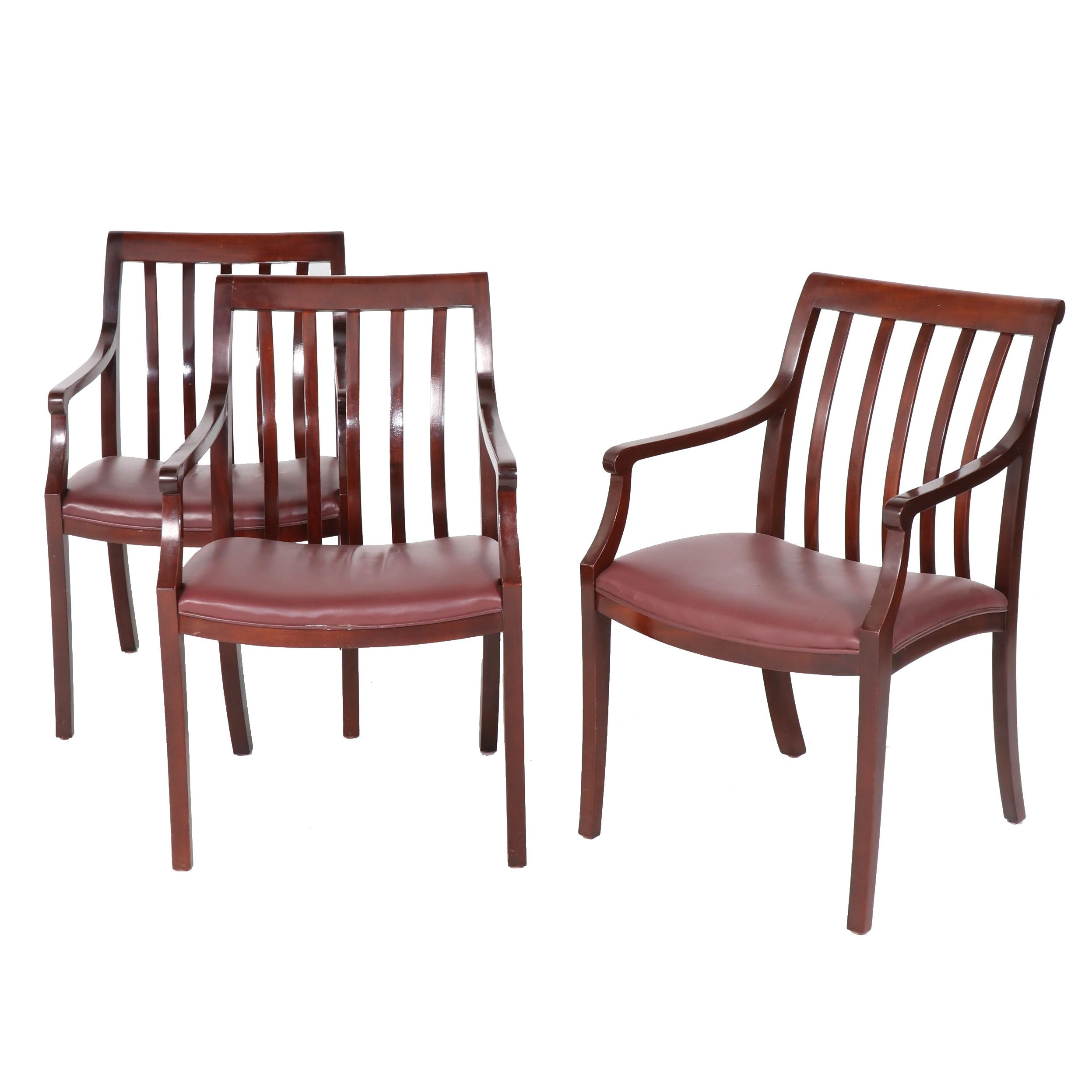Hancock & More Wood and Leather Dining Arm Chairs