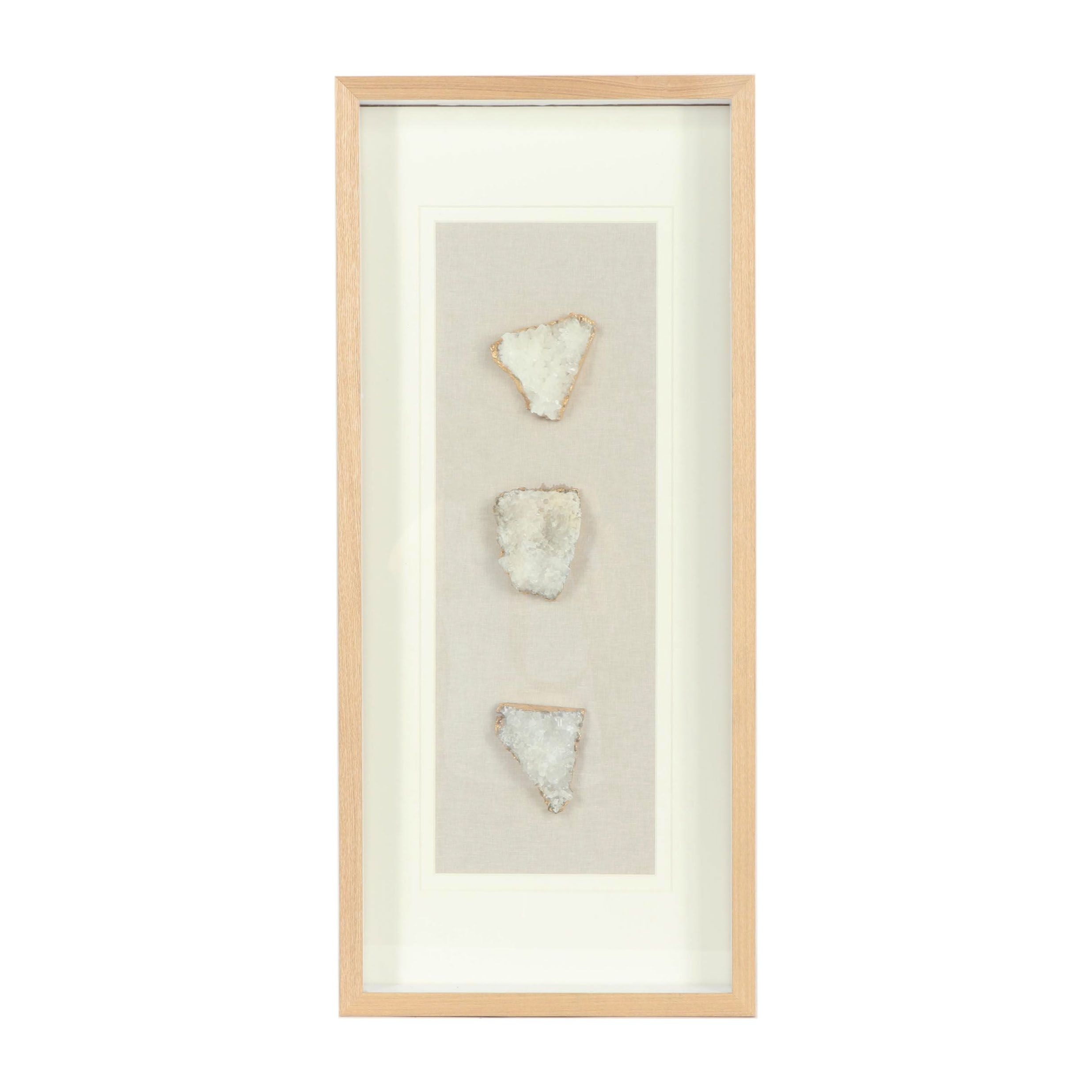 Wall Mounted Shadow Box with Three Gold Leaf Accented Crystal Fragments
