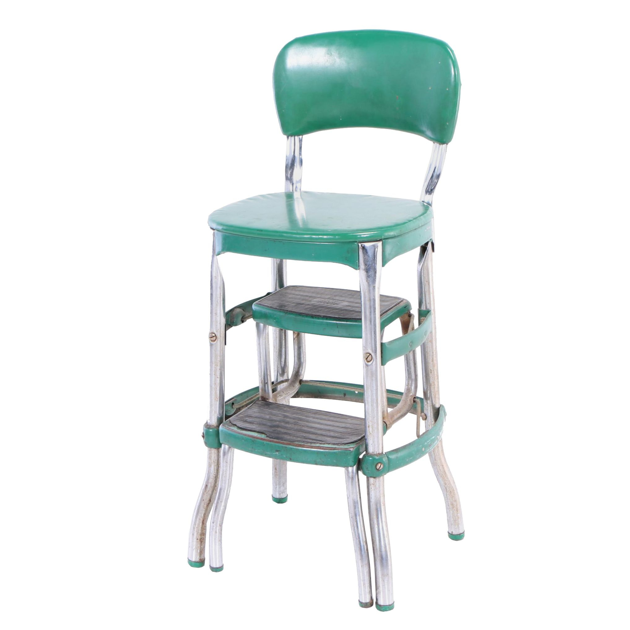 Cosco, Chromed and Green-Painted Steel Step Stool, Mid 20th Century