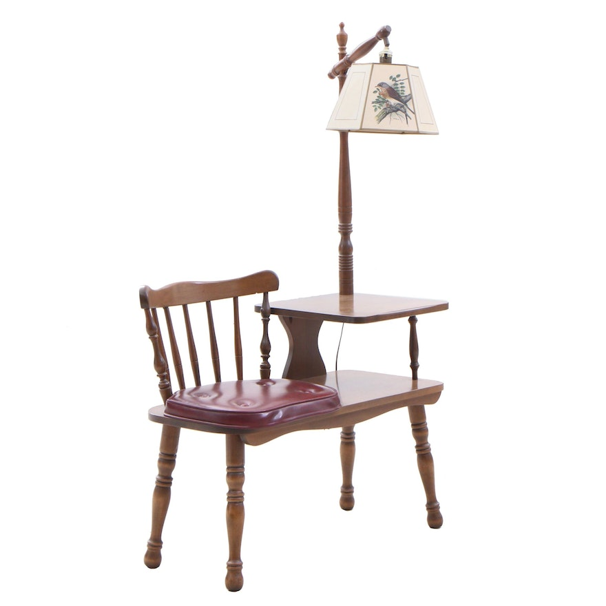 Enjoyable Early American Style George G Bent Col Maple Telephone Bench With Lamp Andrewgaddart Wooden Chair Designs For Living Room Andrewgaddartcom