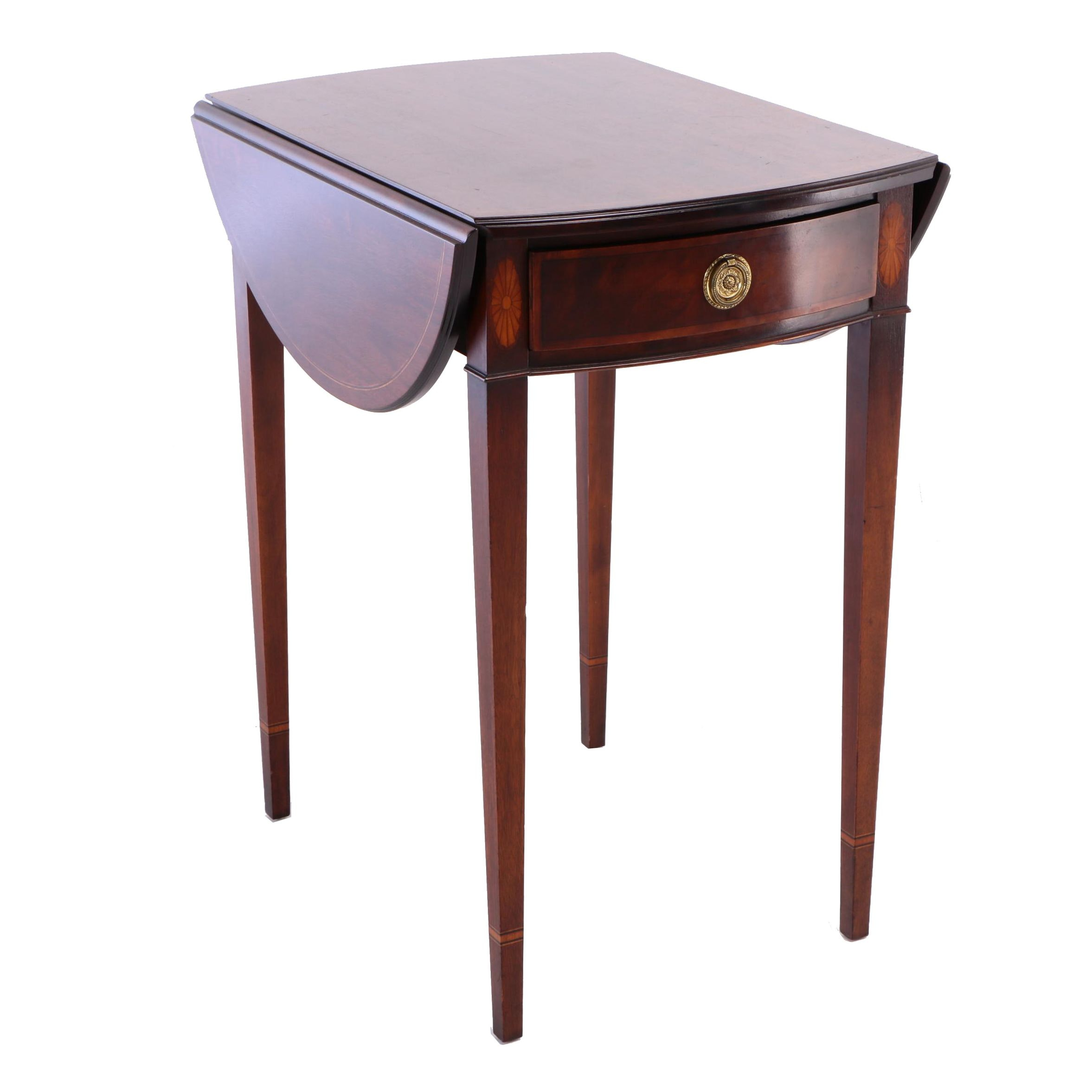 George III Style Mahogany and Marquetry Pembroke Table, 20th Century
