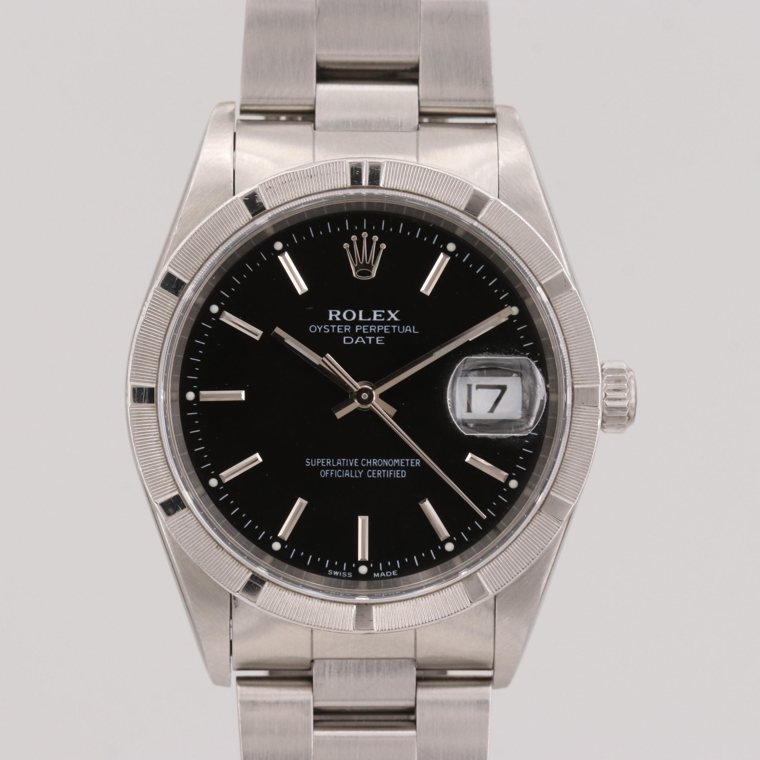 Rolex Oyster Perpetual Date Stainless Steel Automatic Wristwatch, 1999