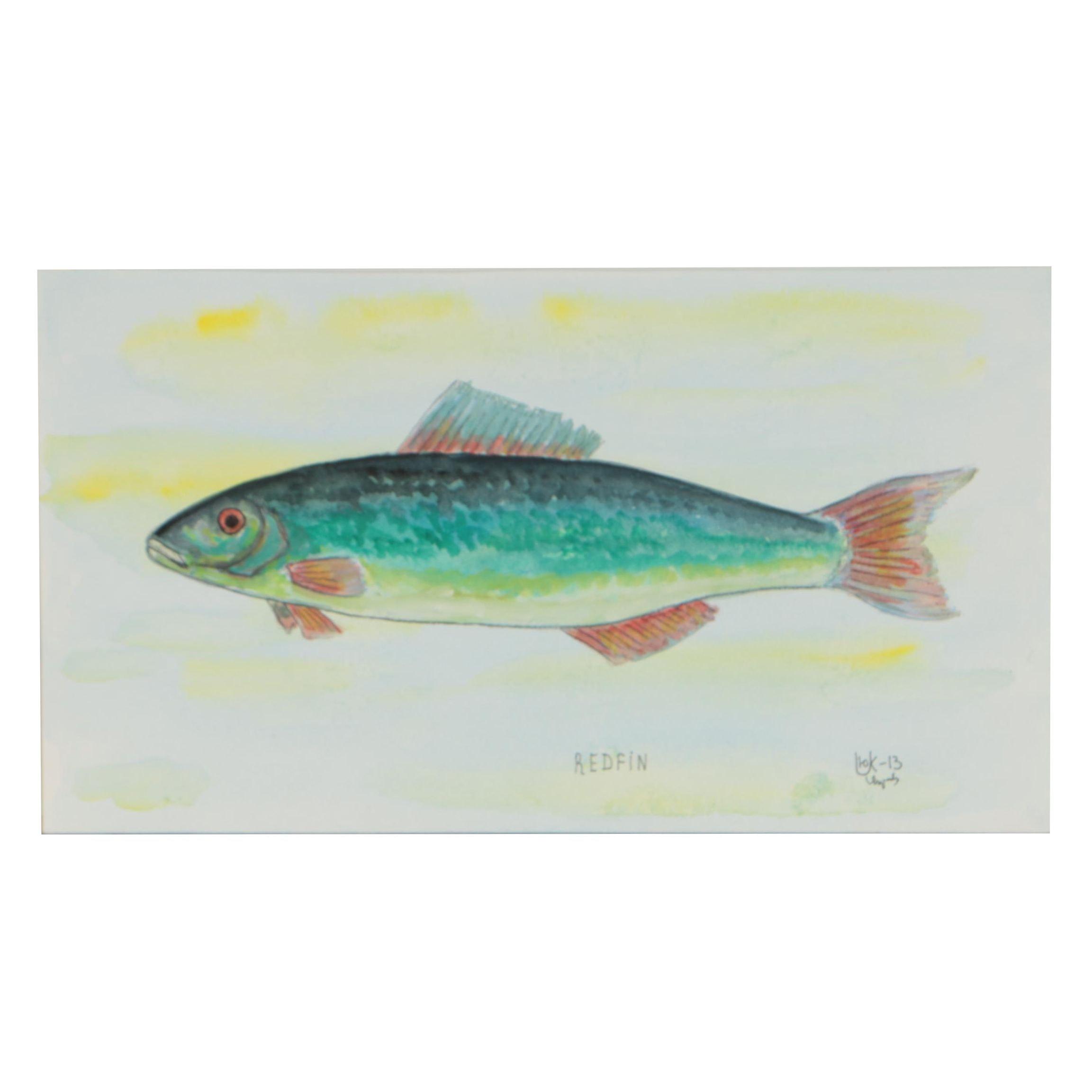 """Yuriy Ukraintsev Watercolor Painting """"Redfin"""""""