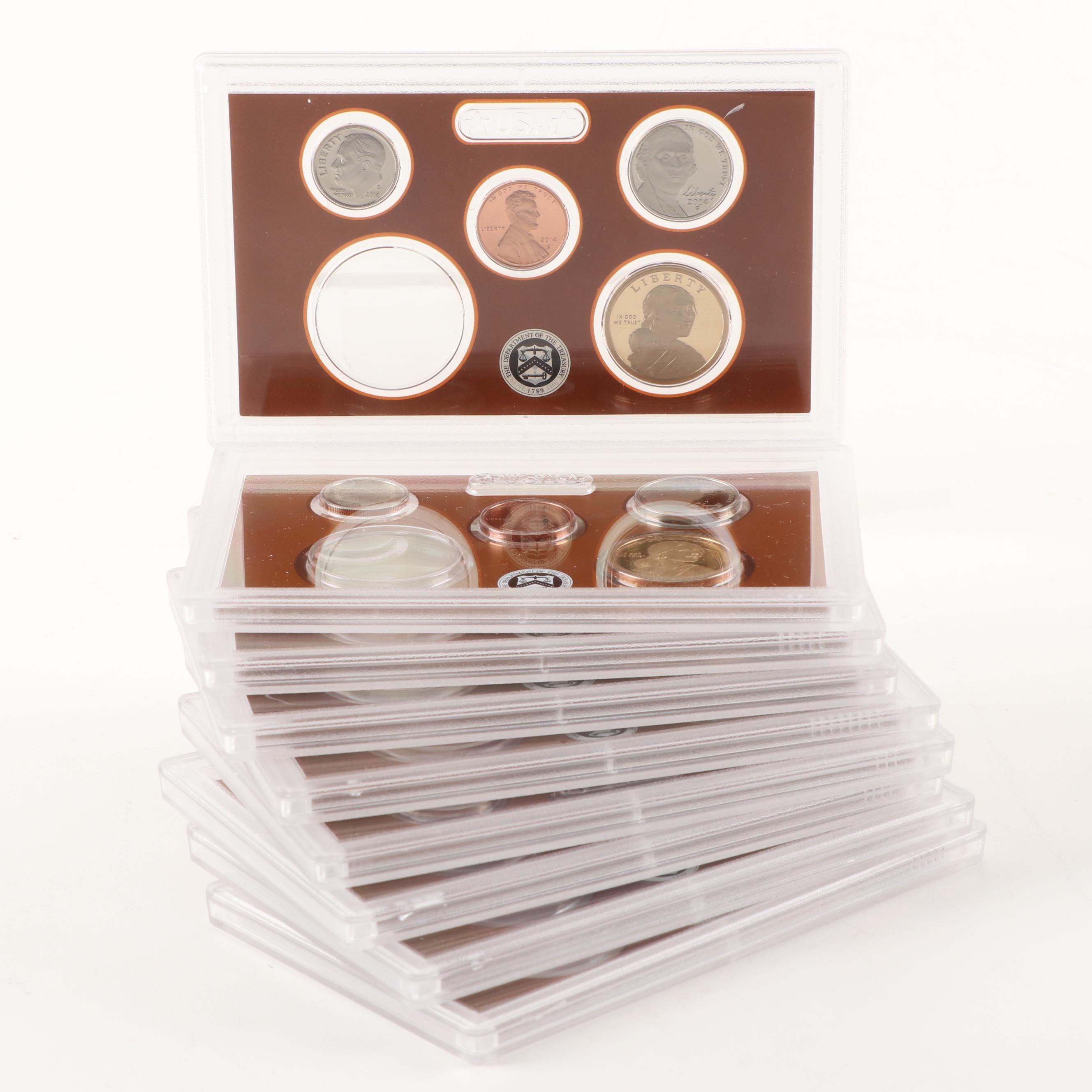 Group of Nine United States Mint 2014 Proof Sets