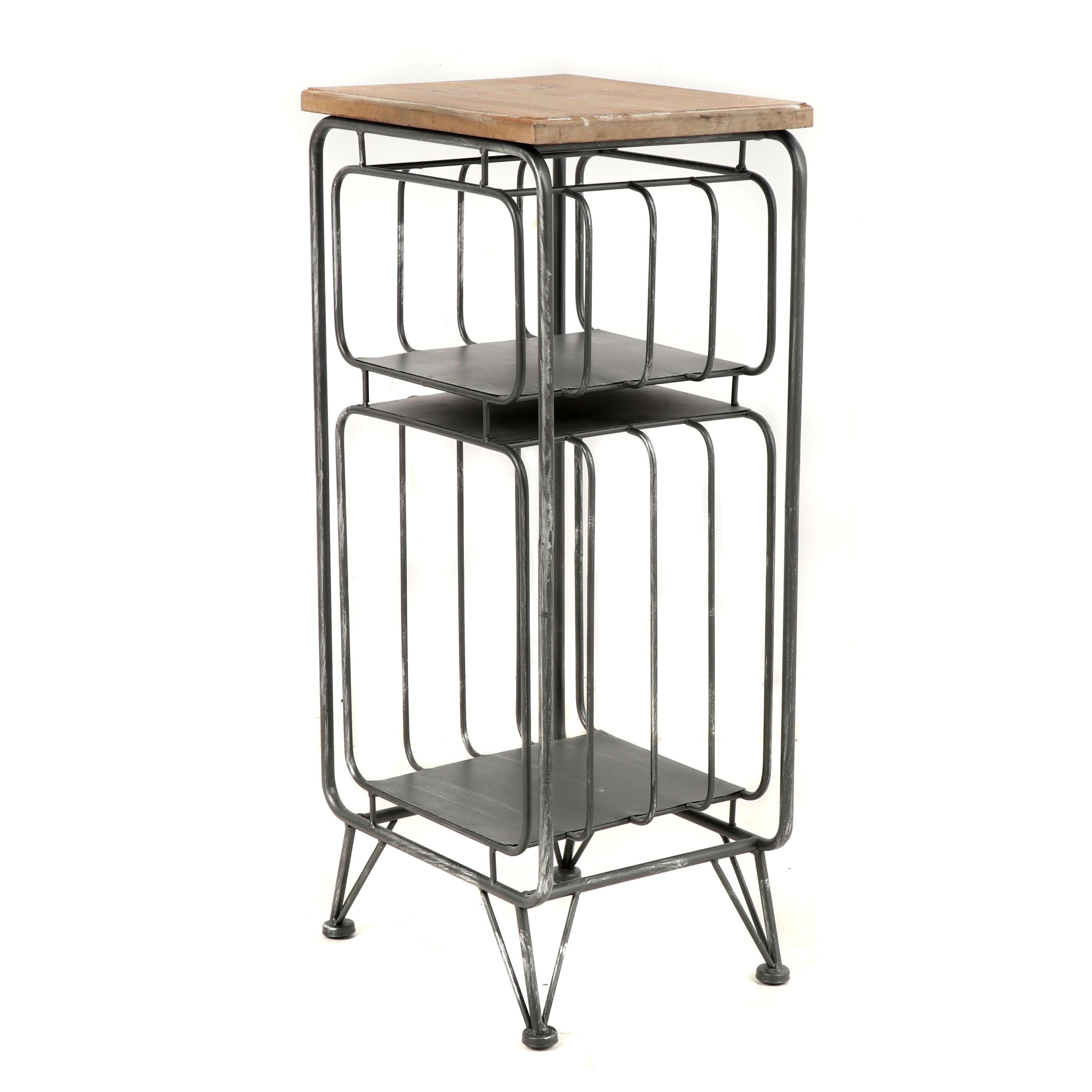 Metal and Wood Accent Table with Rack