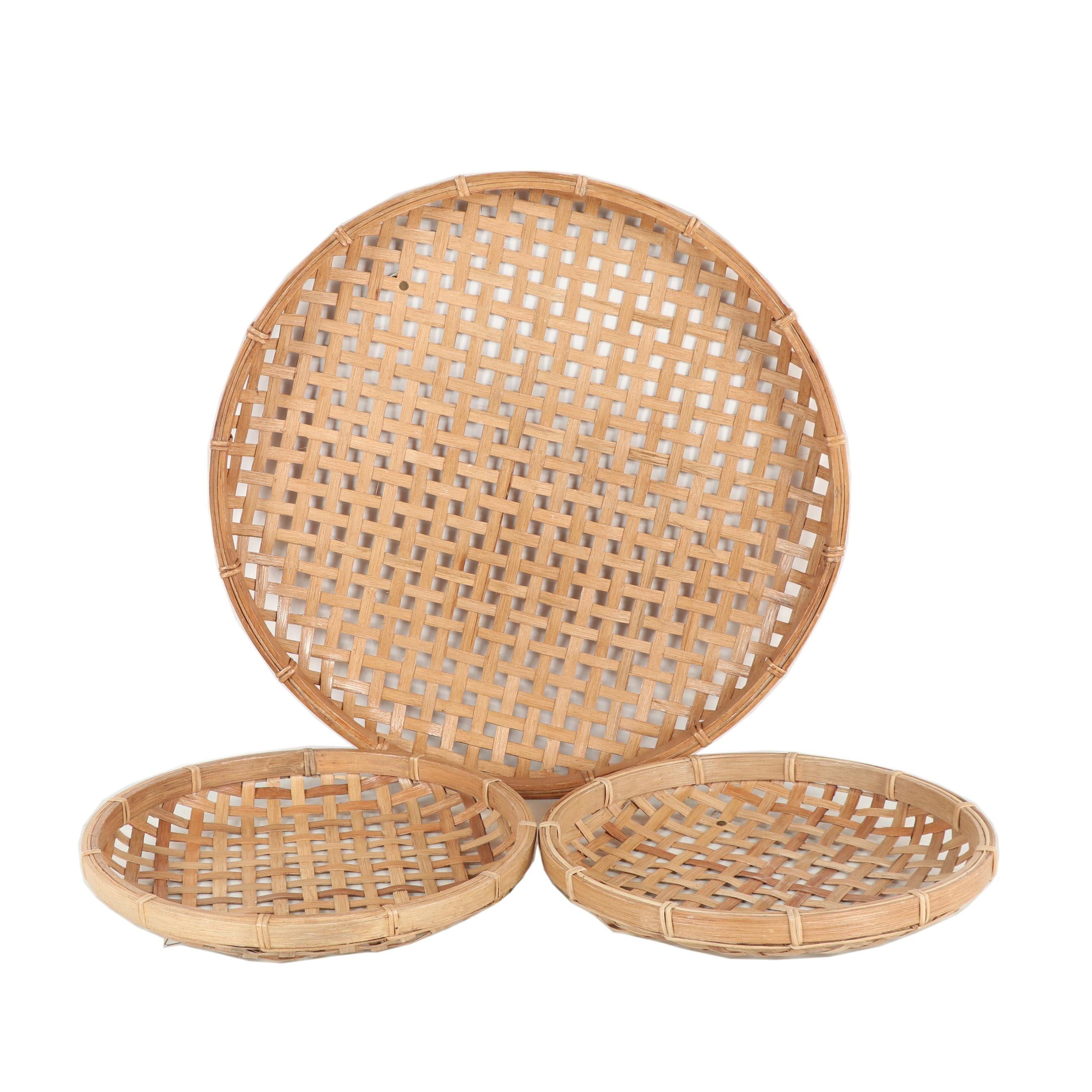 Large Round Wicker Basket Wall Decor
