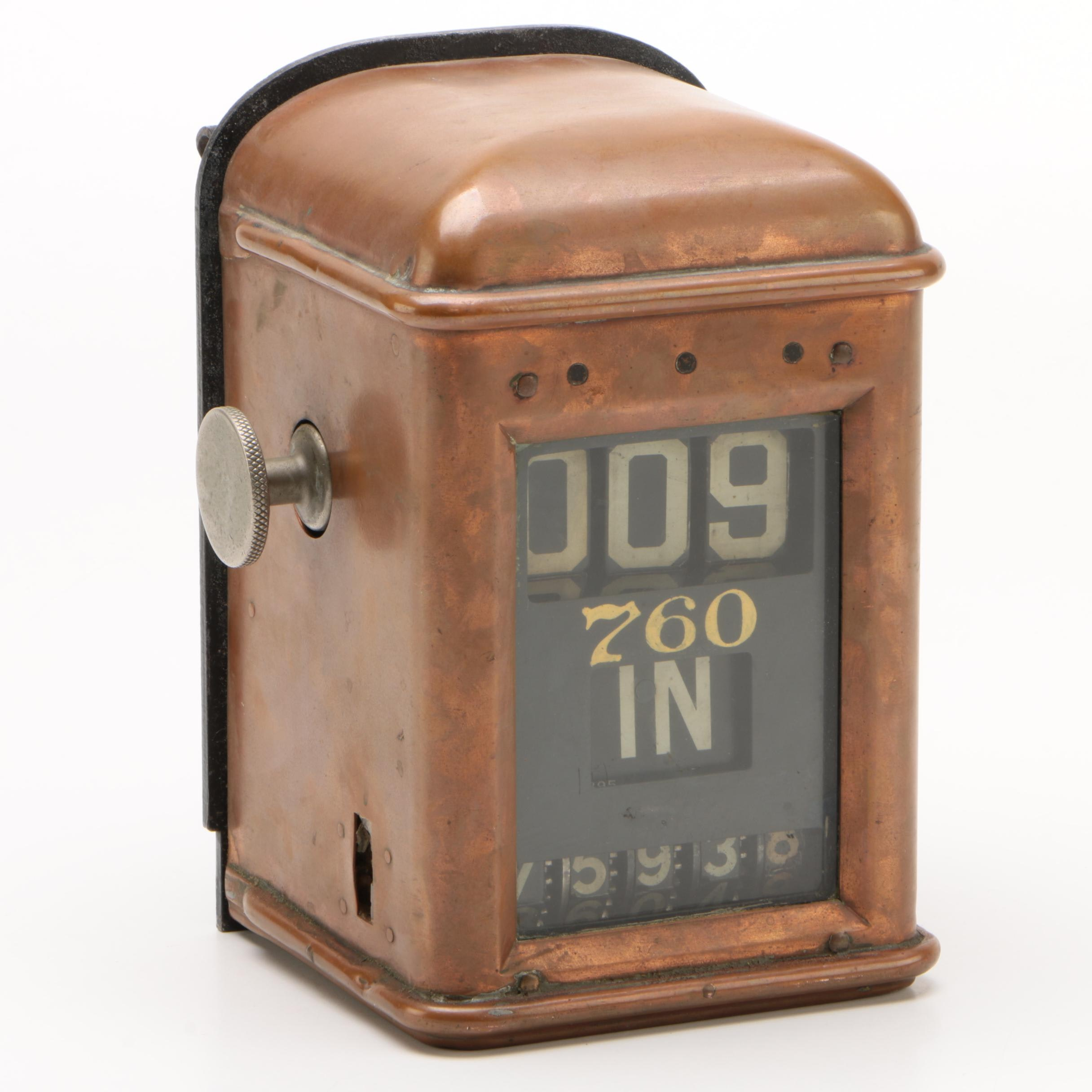Copper Trolley Fare Meter Box, Early 20th Century