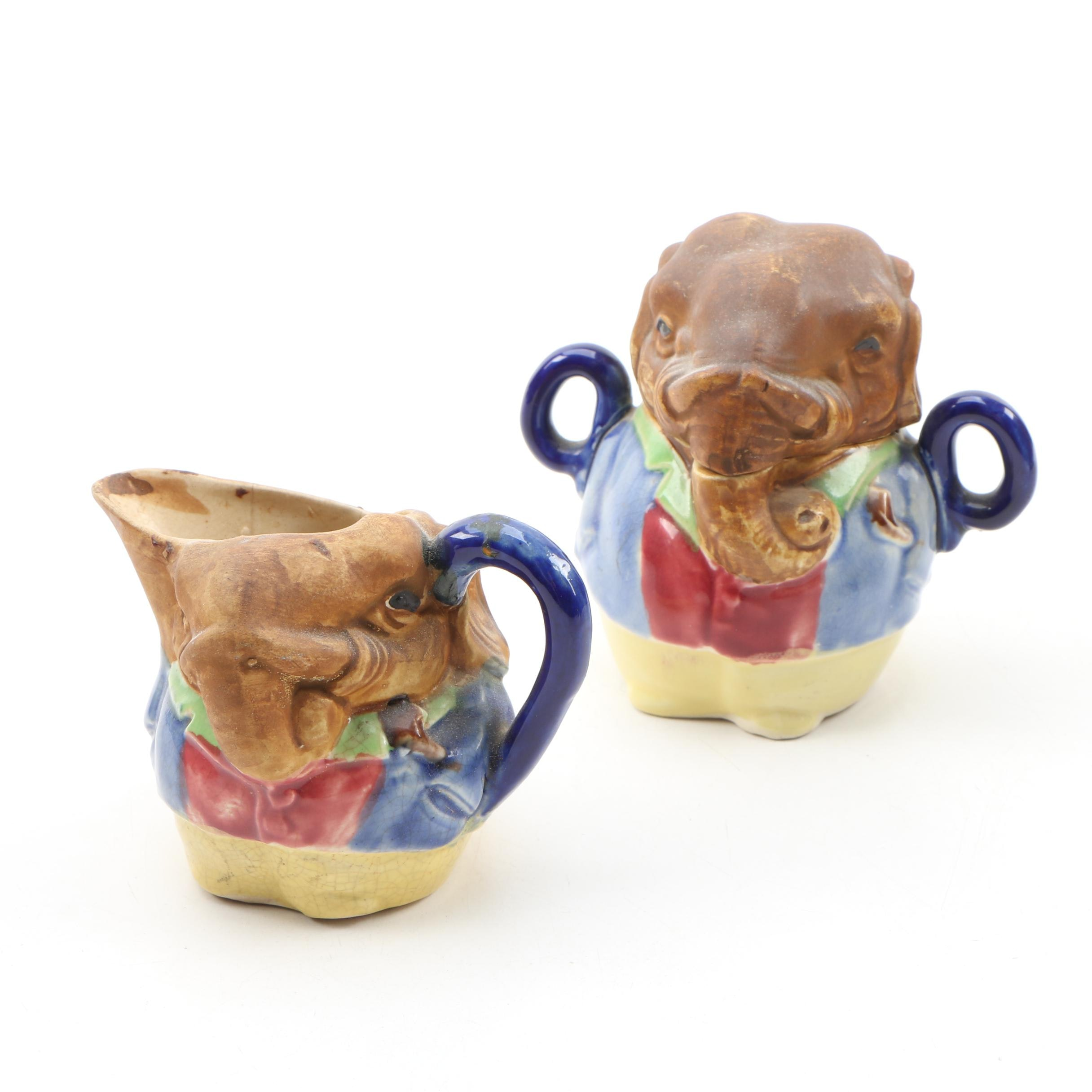 Ceramic Elephant Form Creamer and Lidded Sugar Bowl, 20th Century
