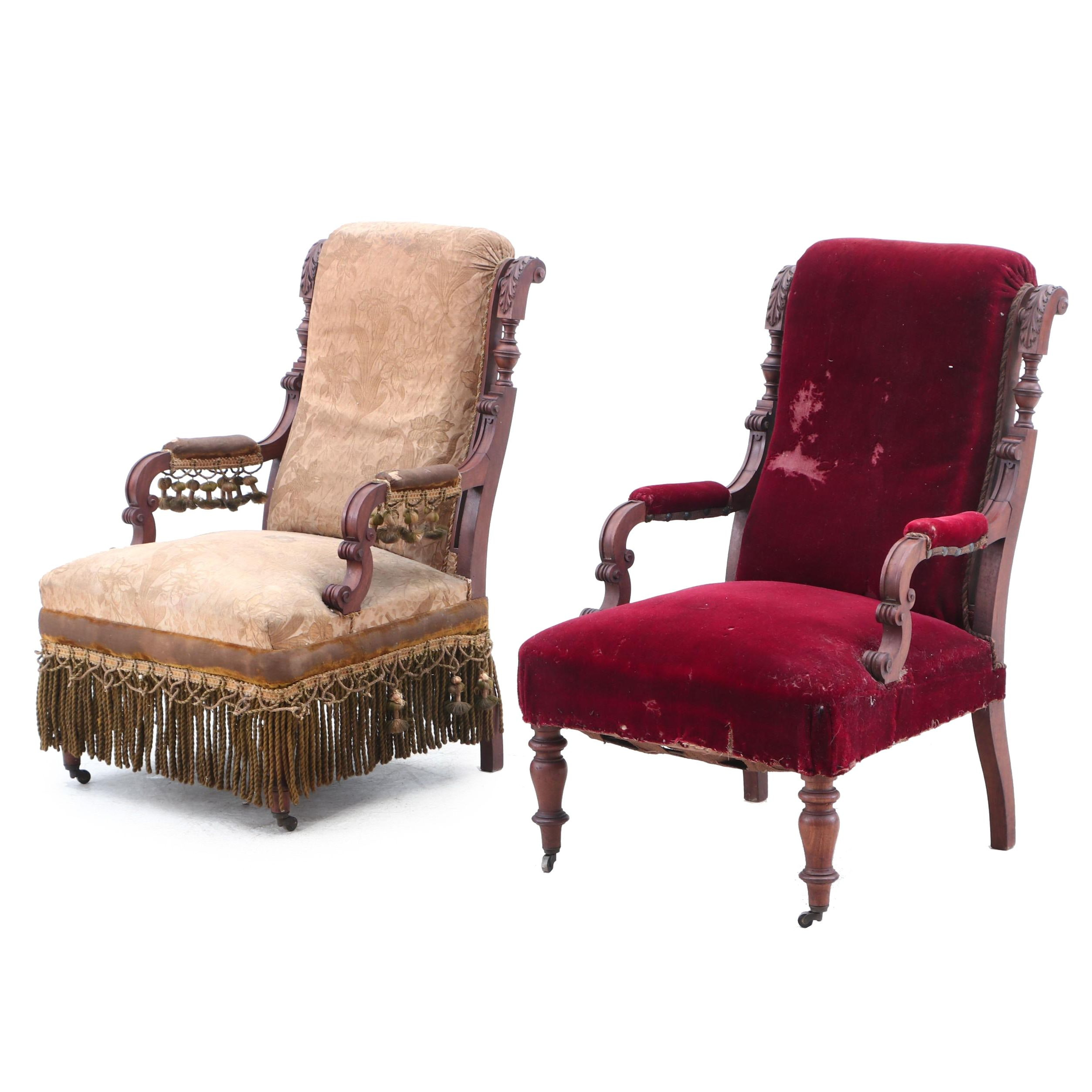 Pair of Victorian Carved Walnut Upholstered Armchairs, Late 19th Century