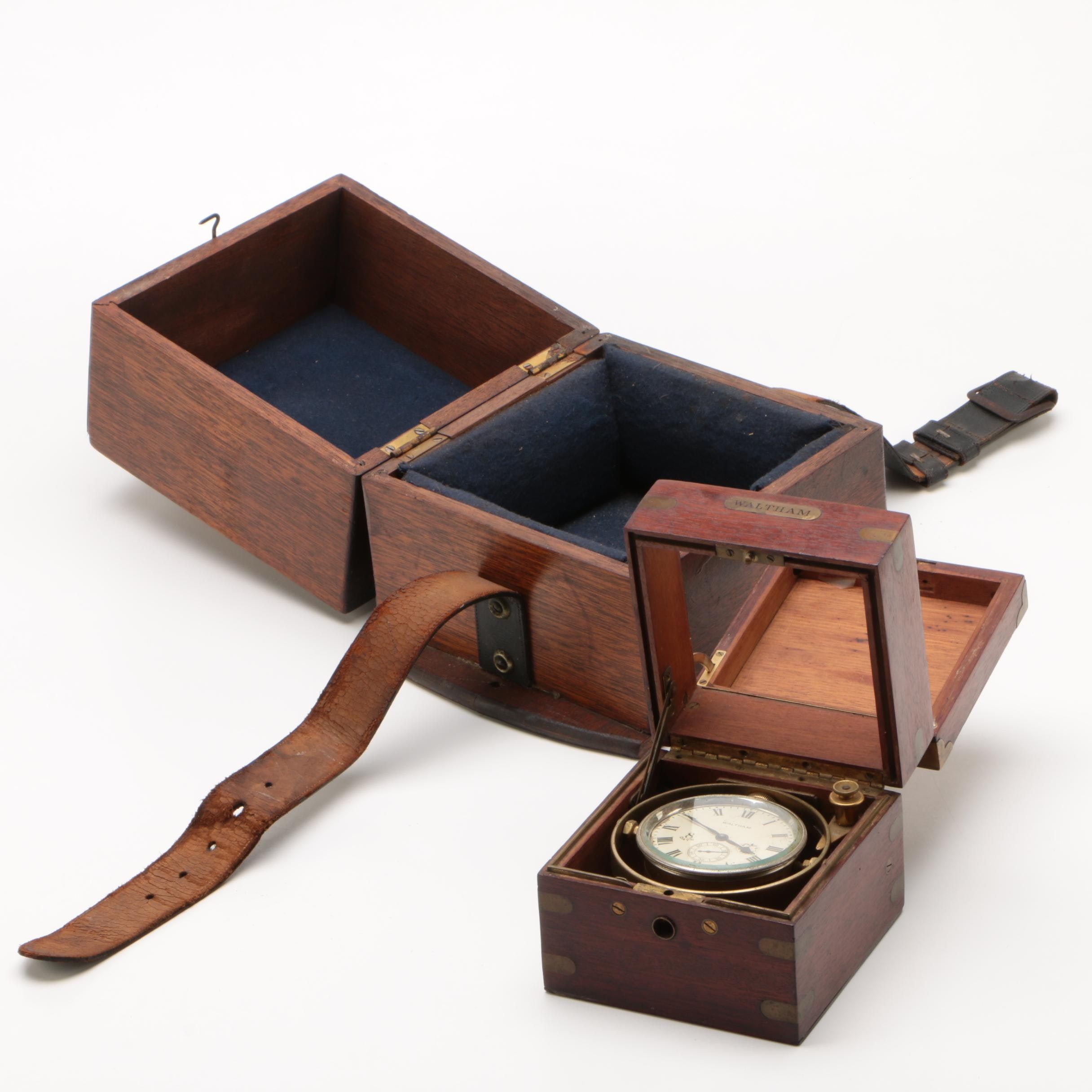 Waltham Eight Day Marine Chronometer with Mahogany Case, Early 20th Century