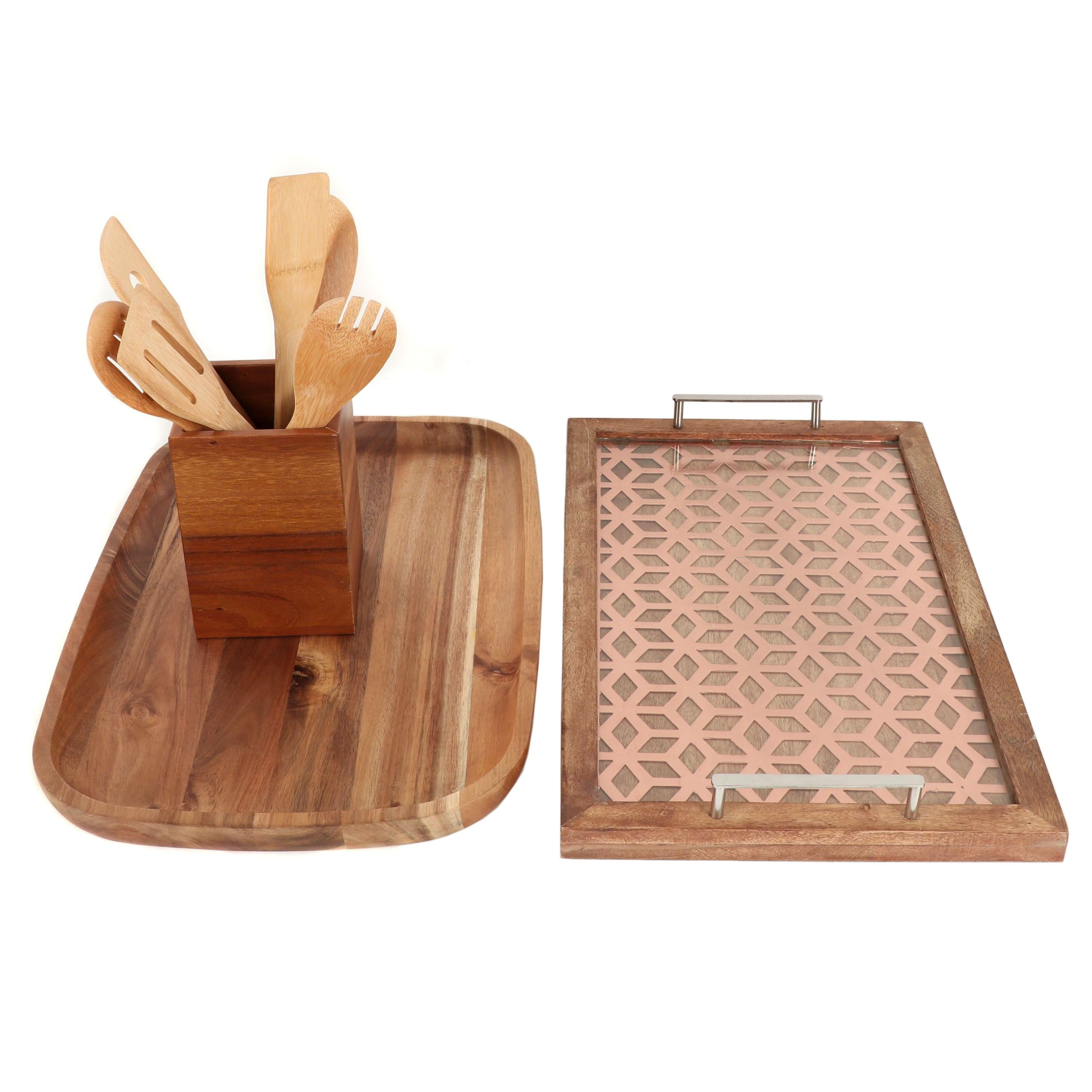 Wooden Serving Trays with Kitchen Utensils