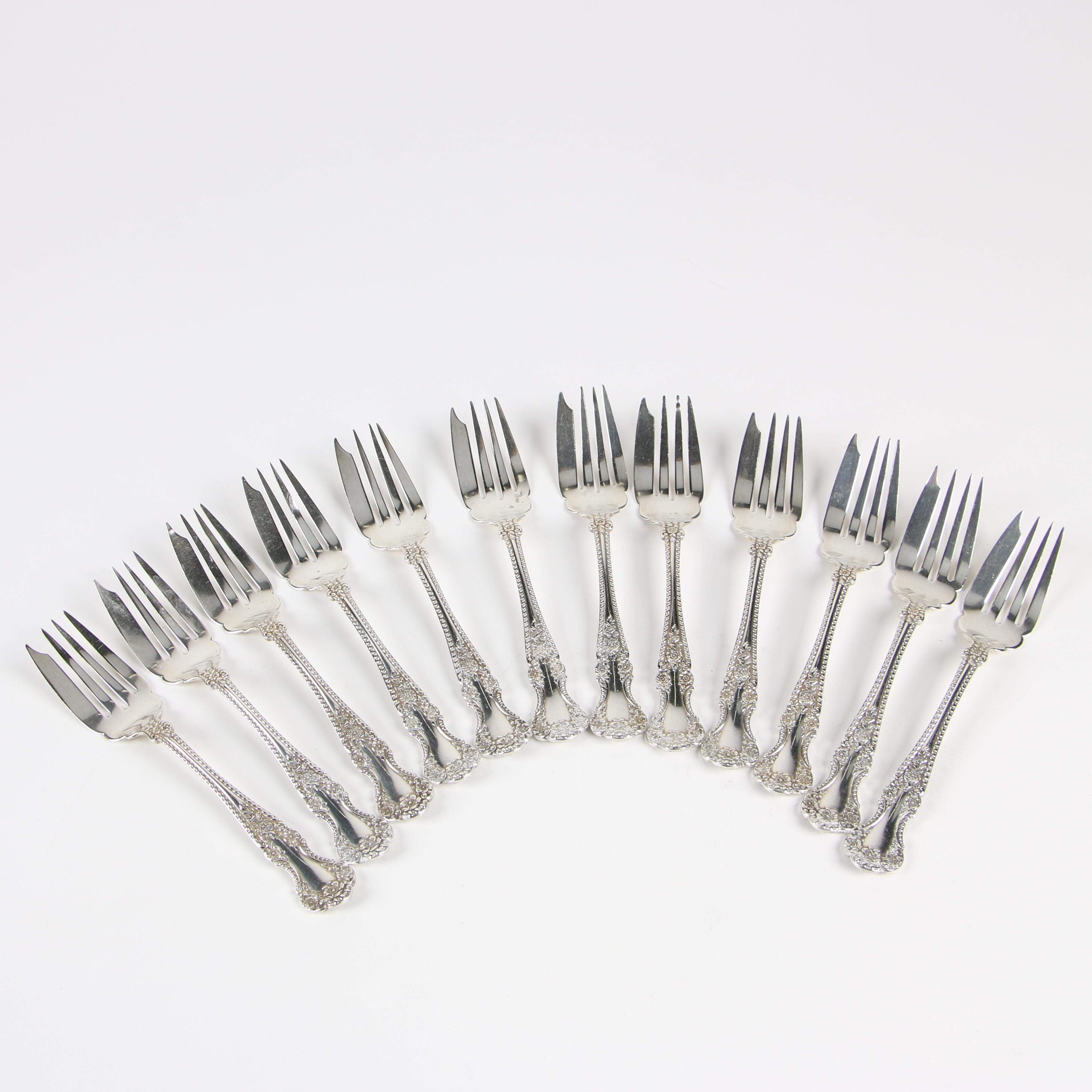 """Gorham """"Cambridge"""" Sterling Silver Pastry Forks, Circa 1899"""