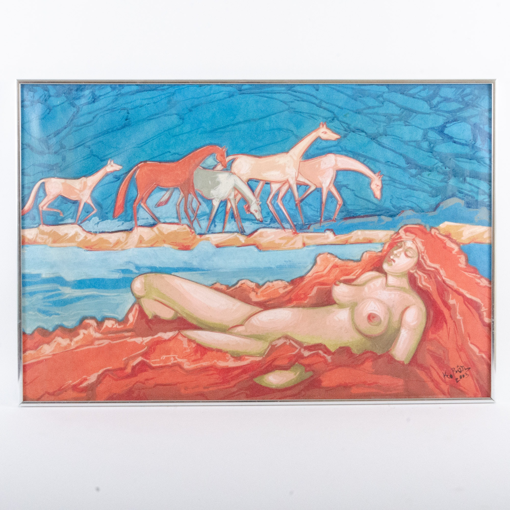 21st Century Oil Painting of Female Nude with Horses