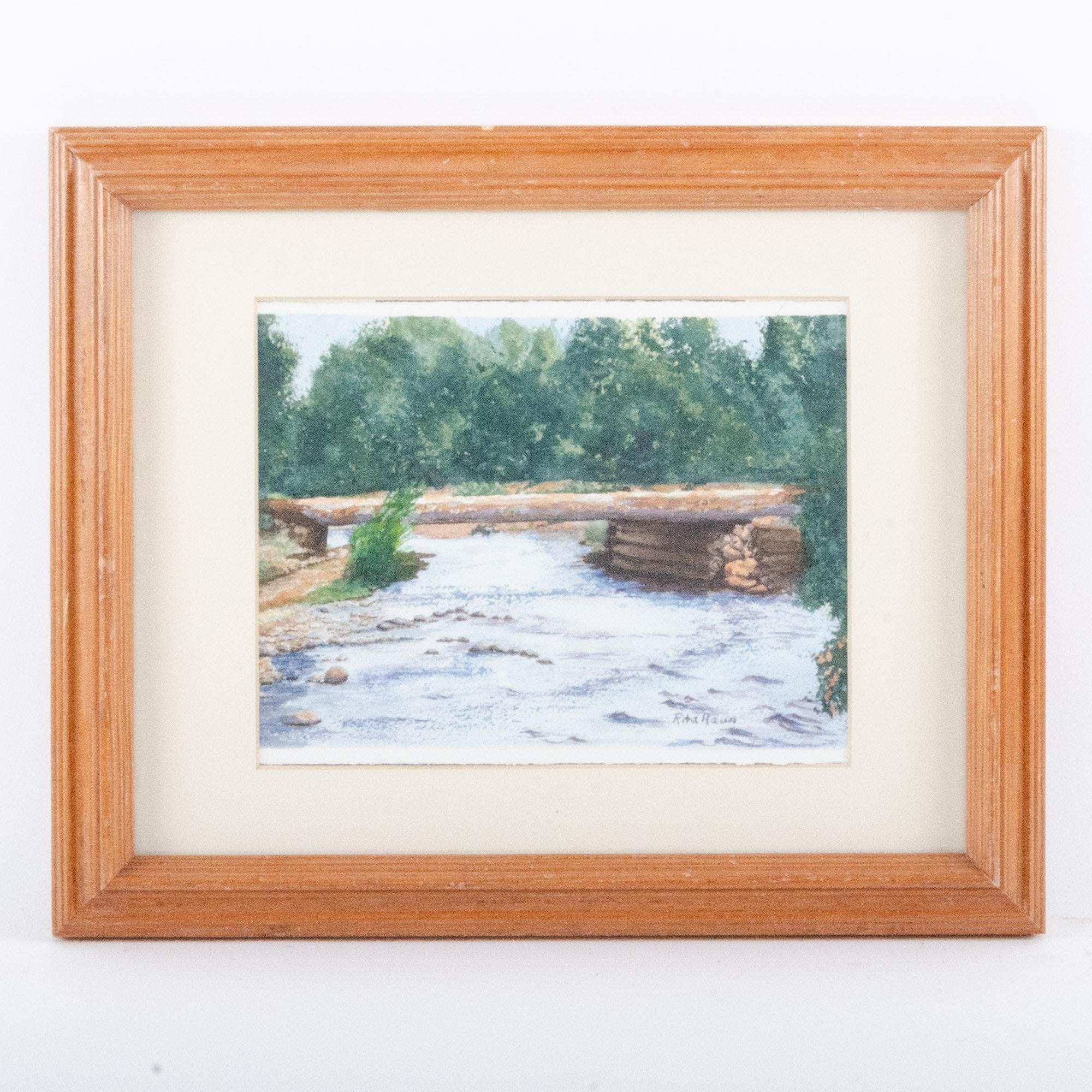 "Rita Haun Watercolor Painting ""Fool Bridge"""