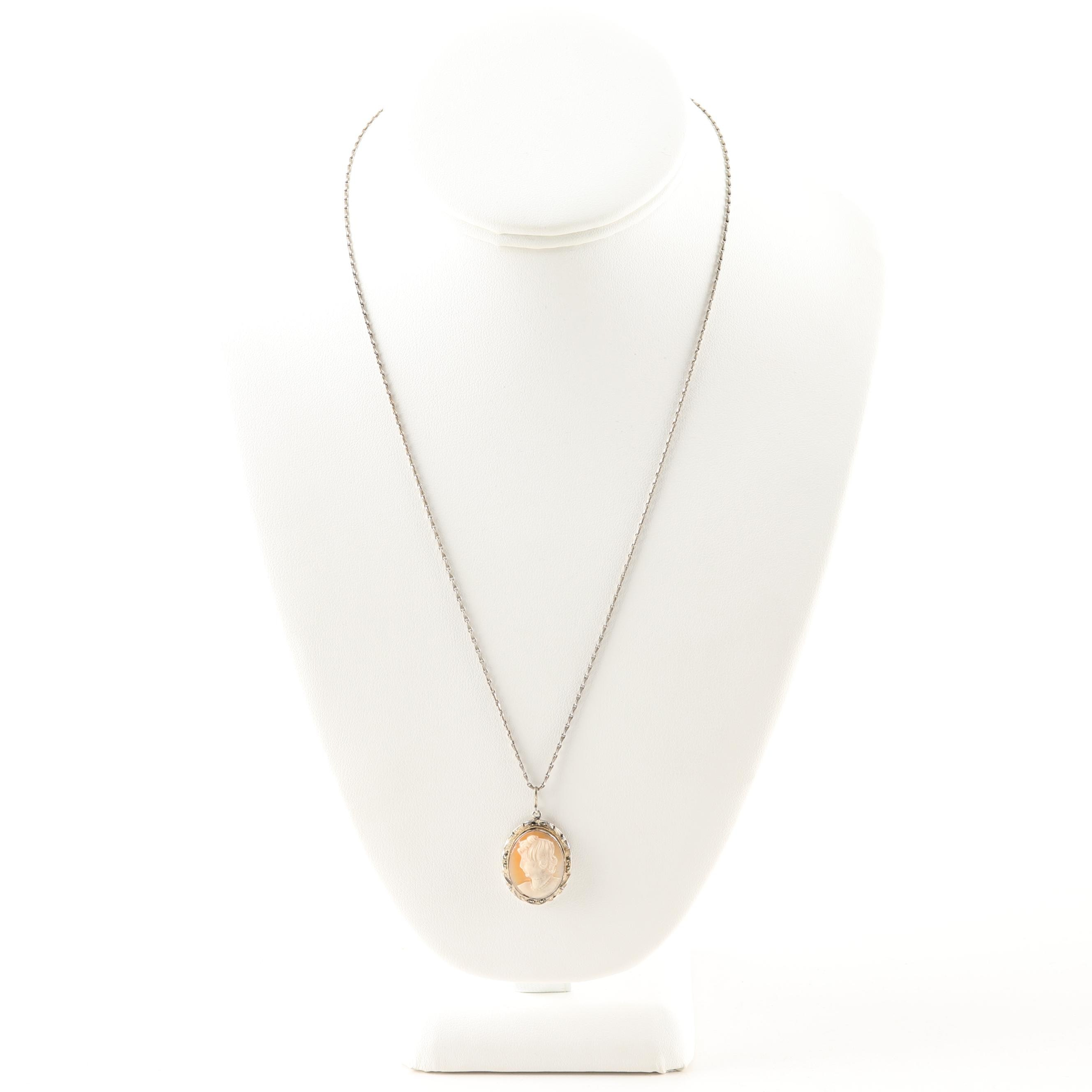 Sterling Silver Shell Cameo Pendant Necklace