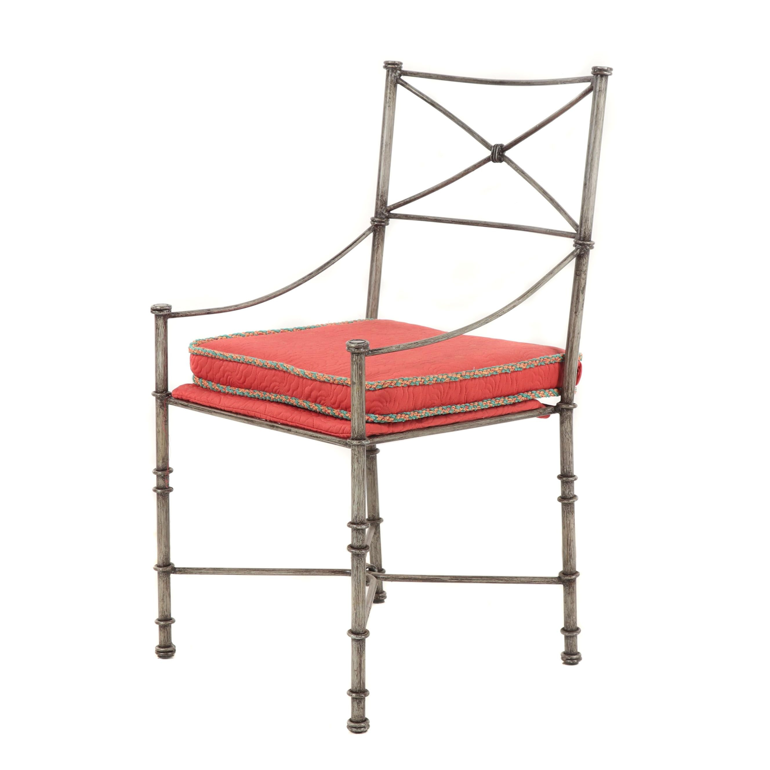 Contemporary Neoclassical Style Silvered Finish Metal Armchair