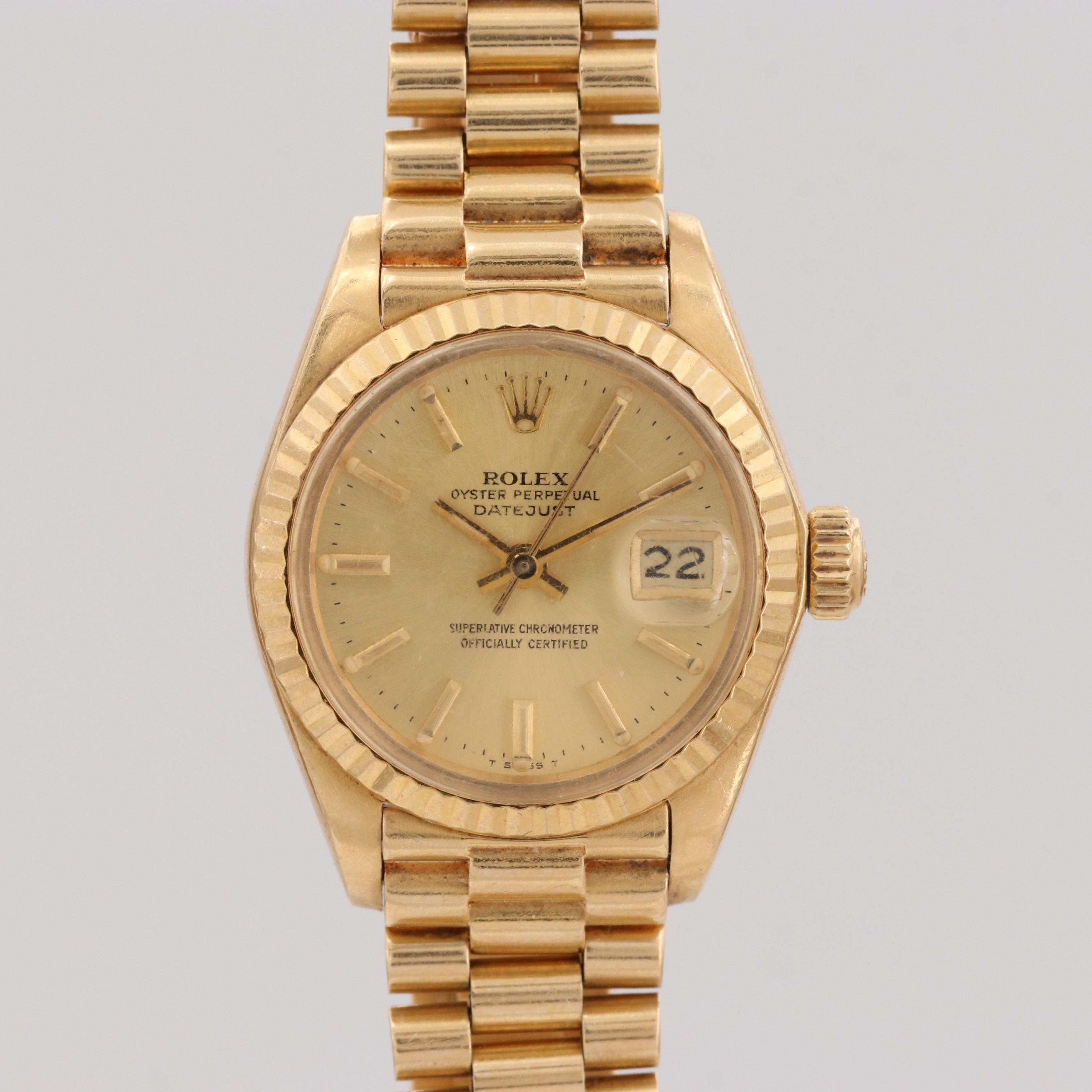 Rolex Ladies President Datejust 18K Yellow Gold Wristwatch, 1979