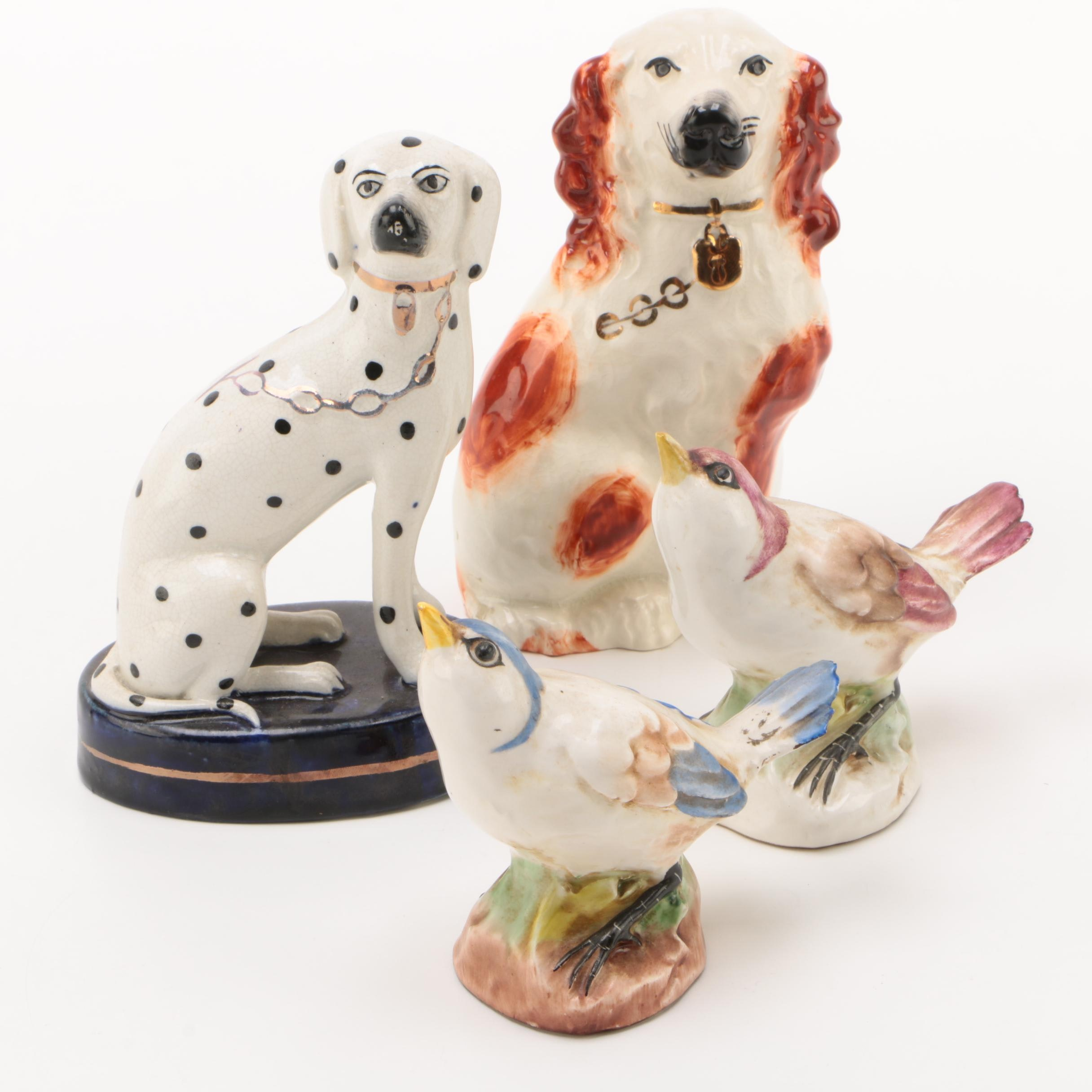 Staffordshire Dogs with Italian Bird Figurines