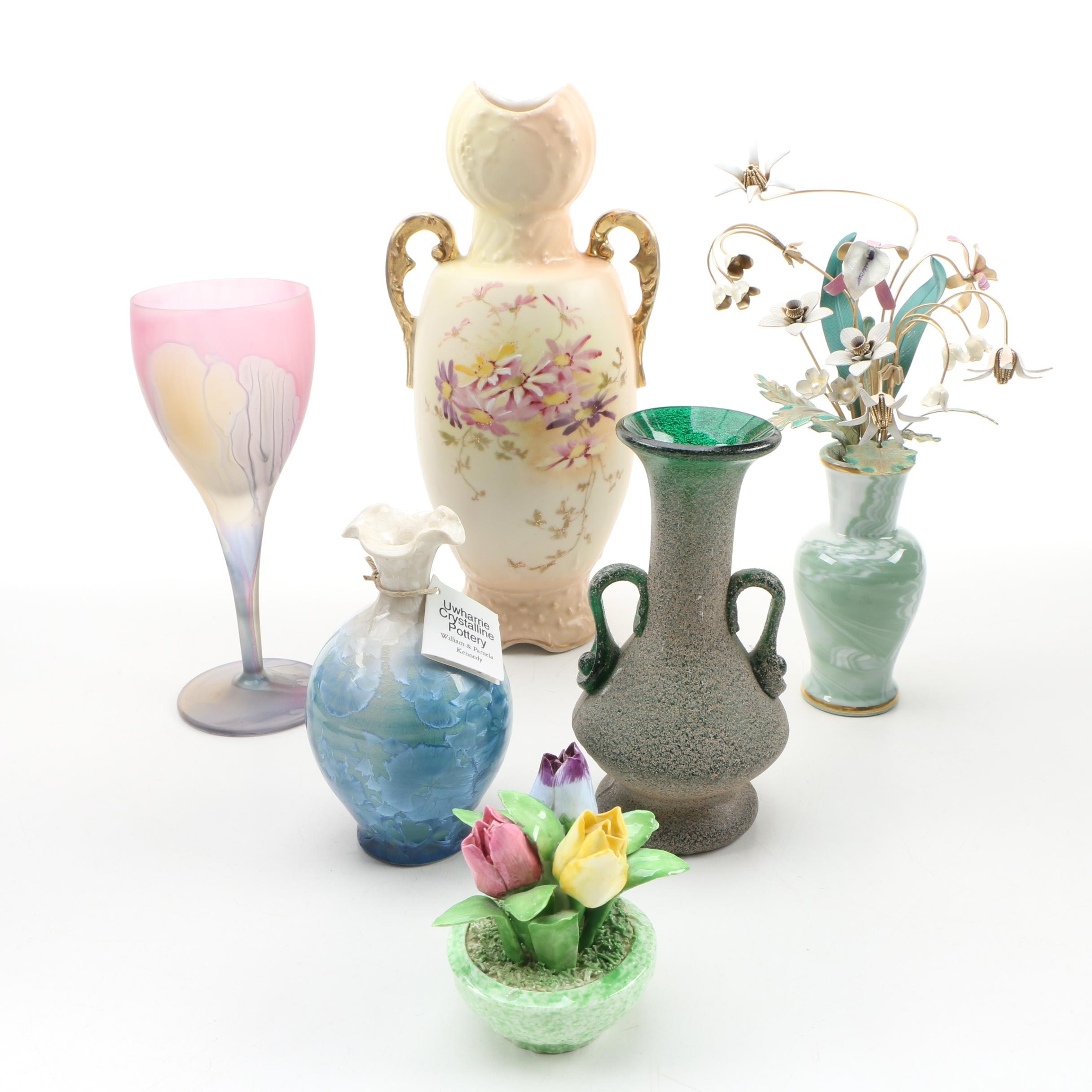 Uwharrie Crystalline Pottery Bud Vase with other Décor