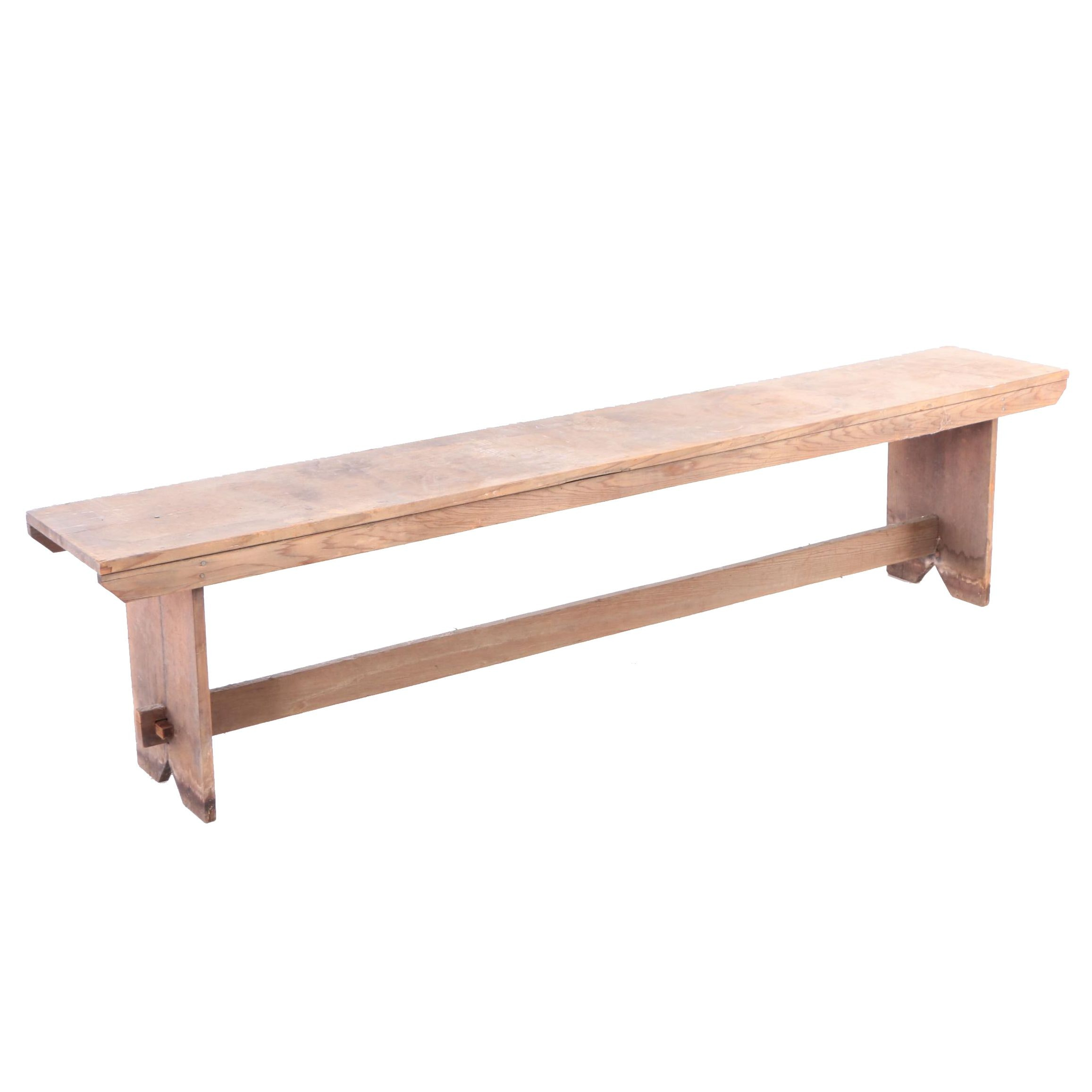 Country Pine Bench with Bootjack Ends, 20th Century