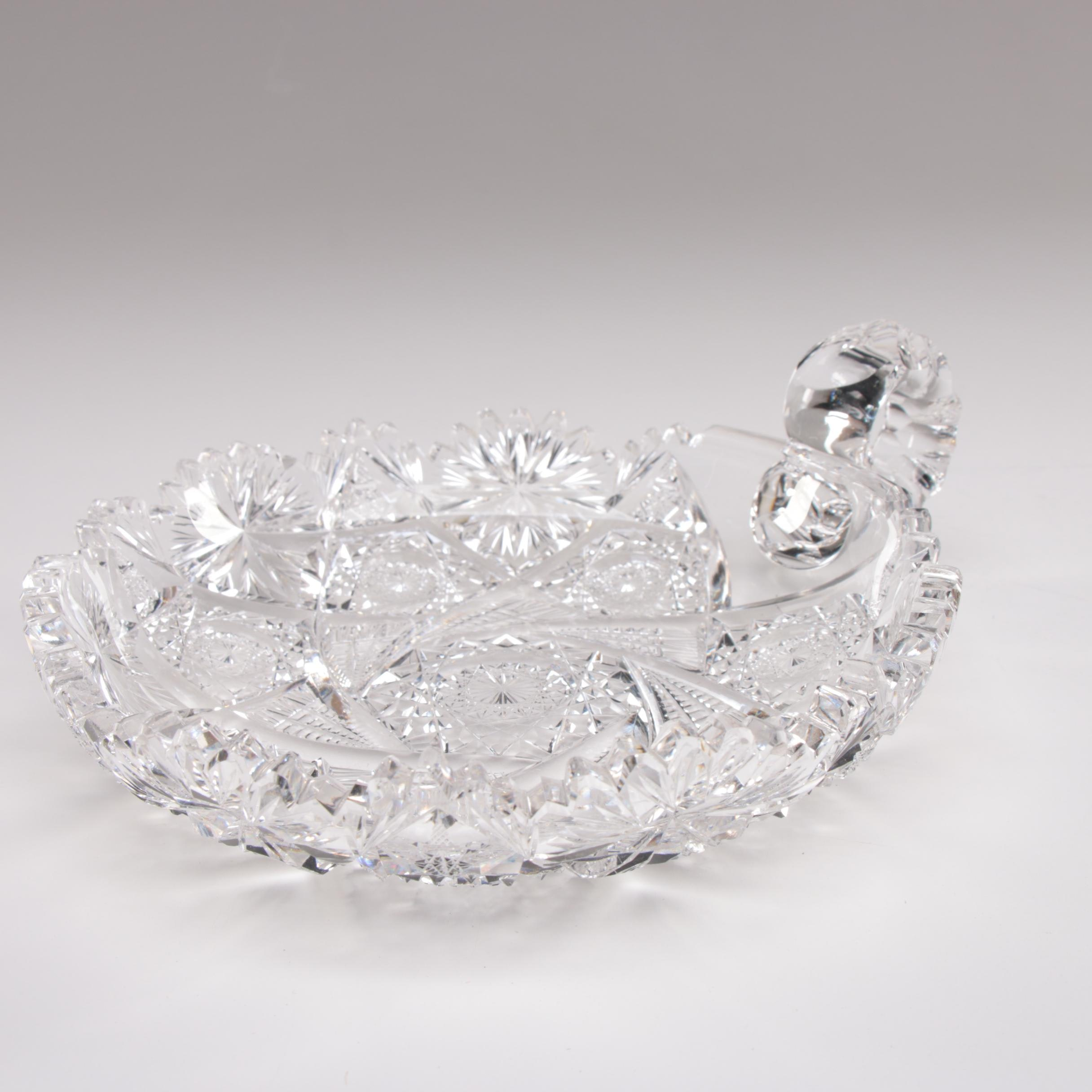 American Brilliant Cut Glass Bowl with Scroll Handle