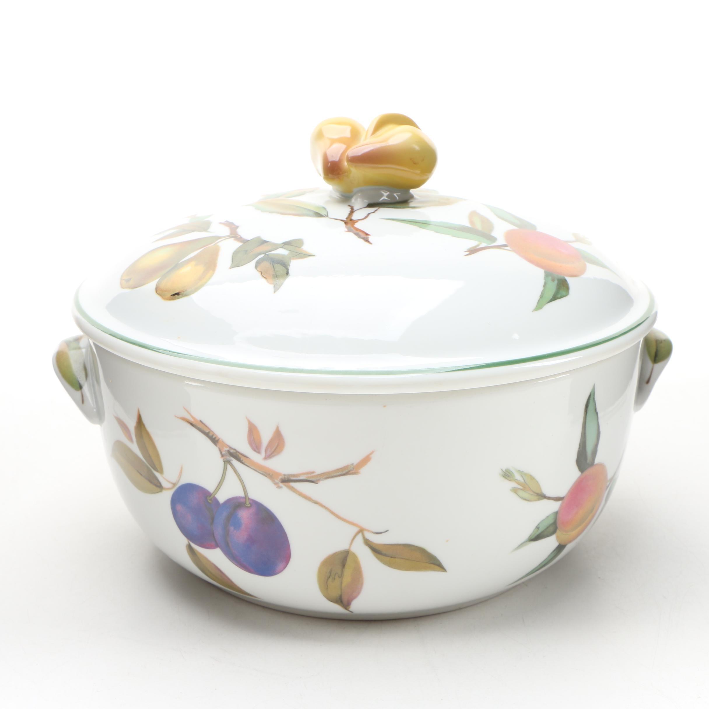"""Royal Worcester """"Evesham Vale"""" Porcelain Covered Casserole Dish"""