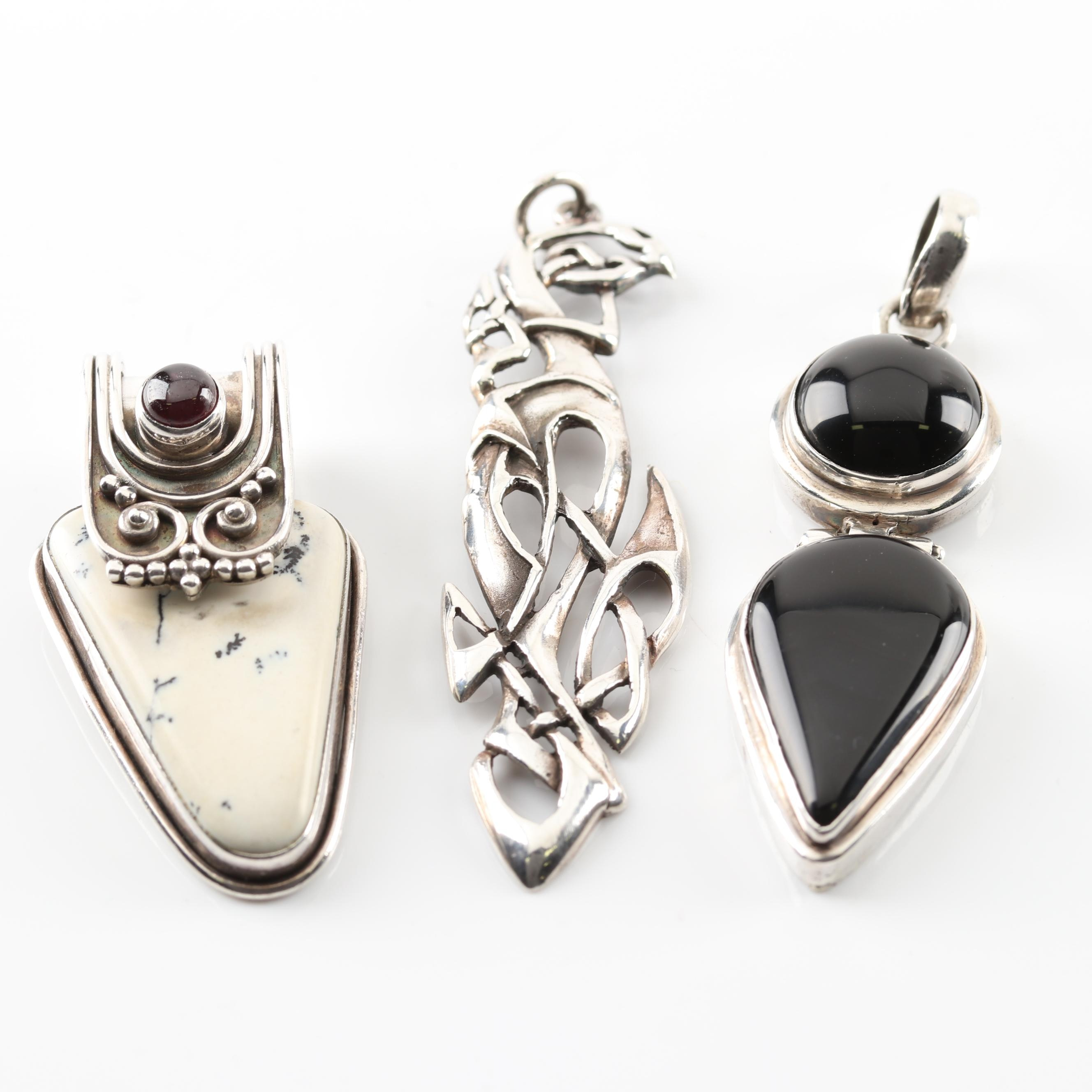 Sterling Silver Black Onyx, Dyed Howlite and Garnet Pendants