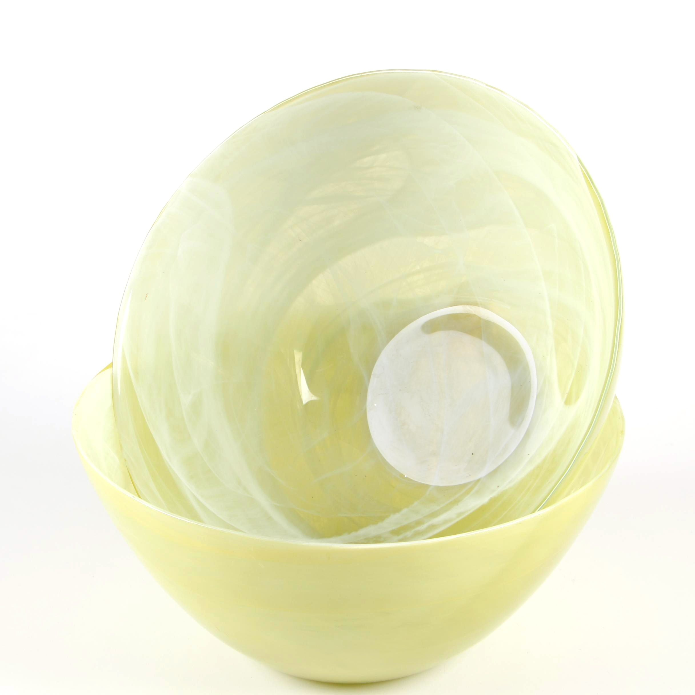 Yellow Art Glass Mixing Bowls