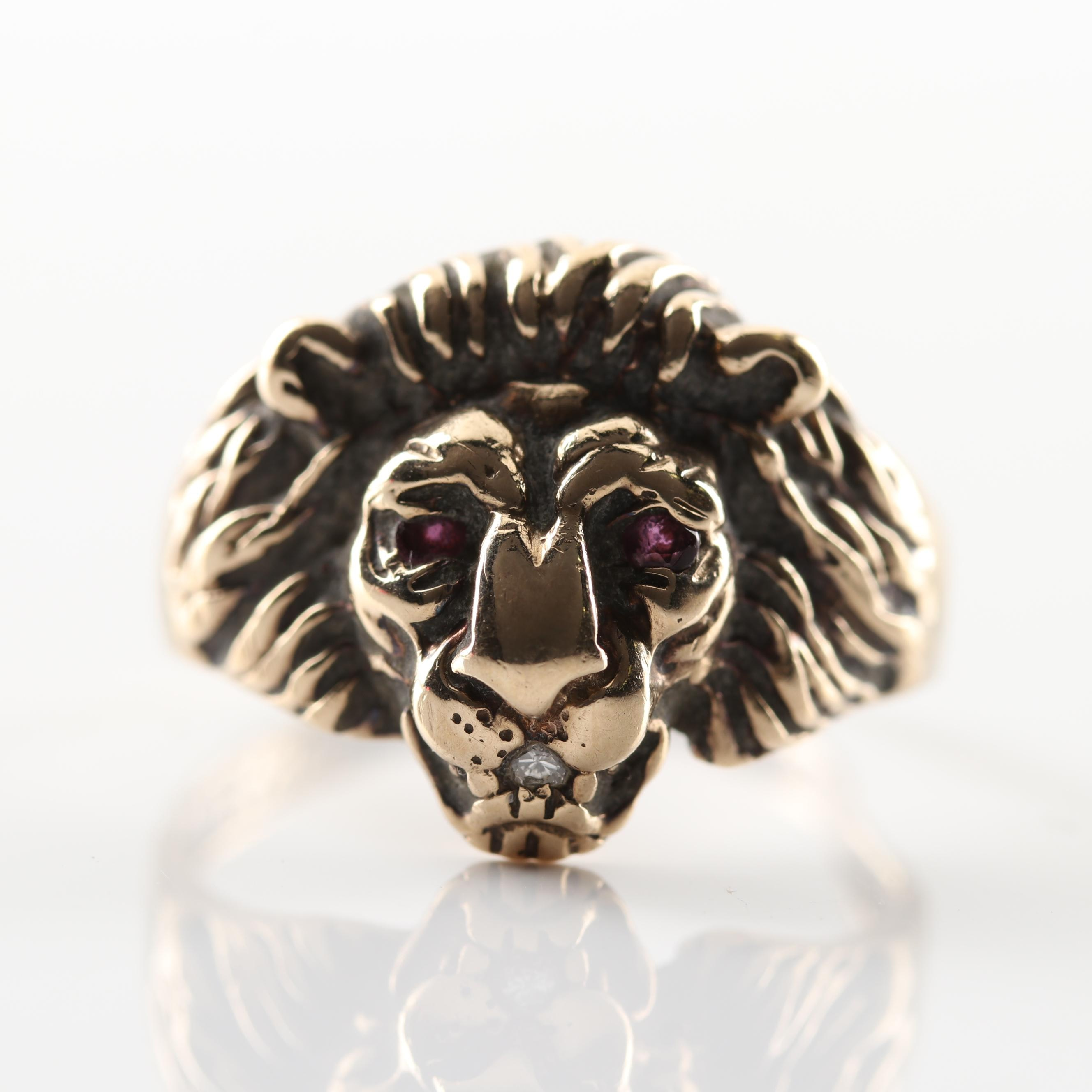 10K Yellow Gold Ruby and Diamond Lion Head Ring