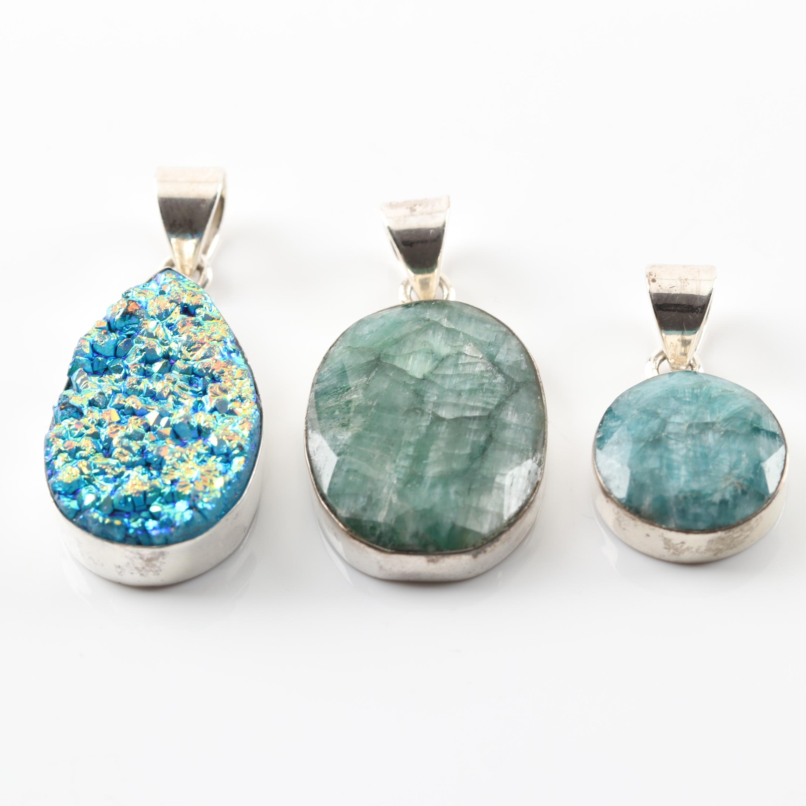 Sterling Silver Faux Druzy and Tourmaline Pendants
