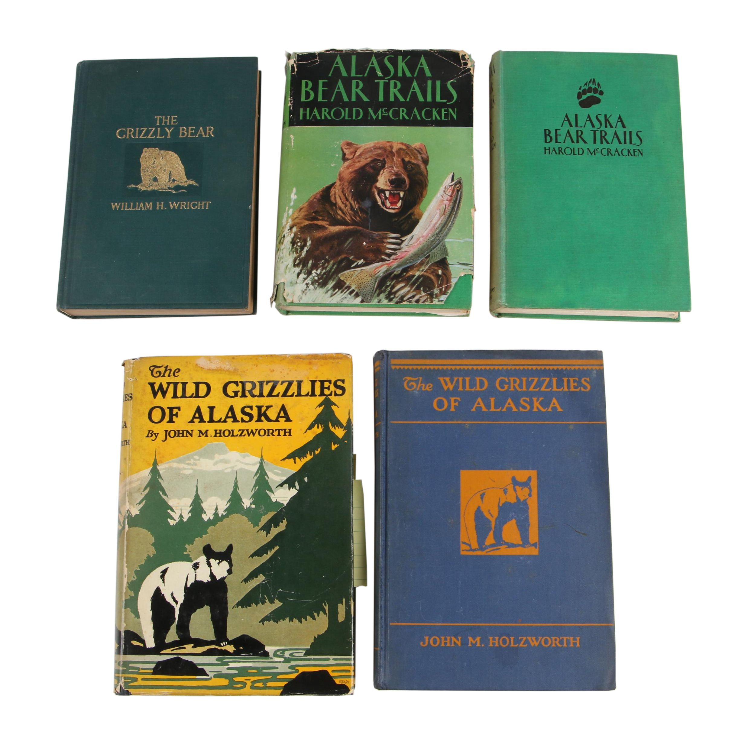 """Bear Books featuring """"The Wild Grizzlies of Alaska"""" by John M. Holzworth, 1930"""