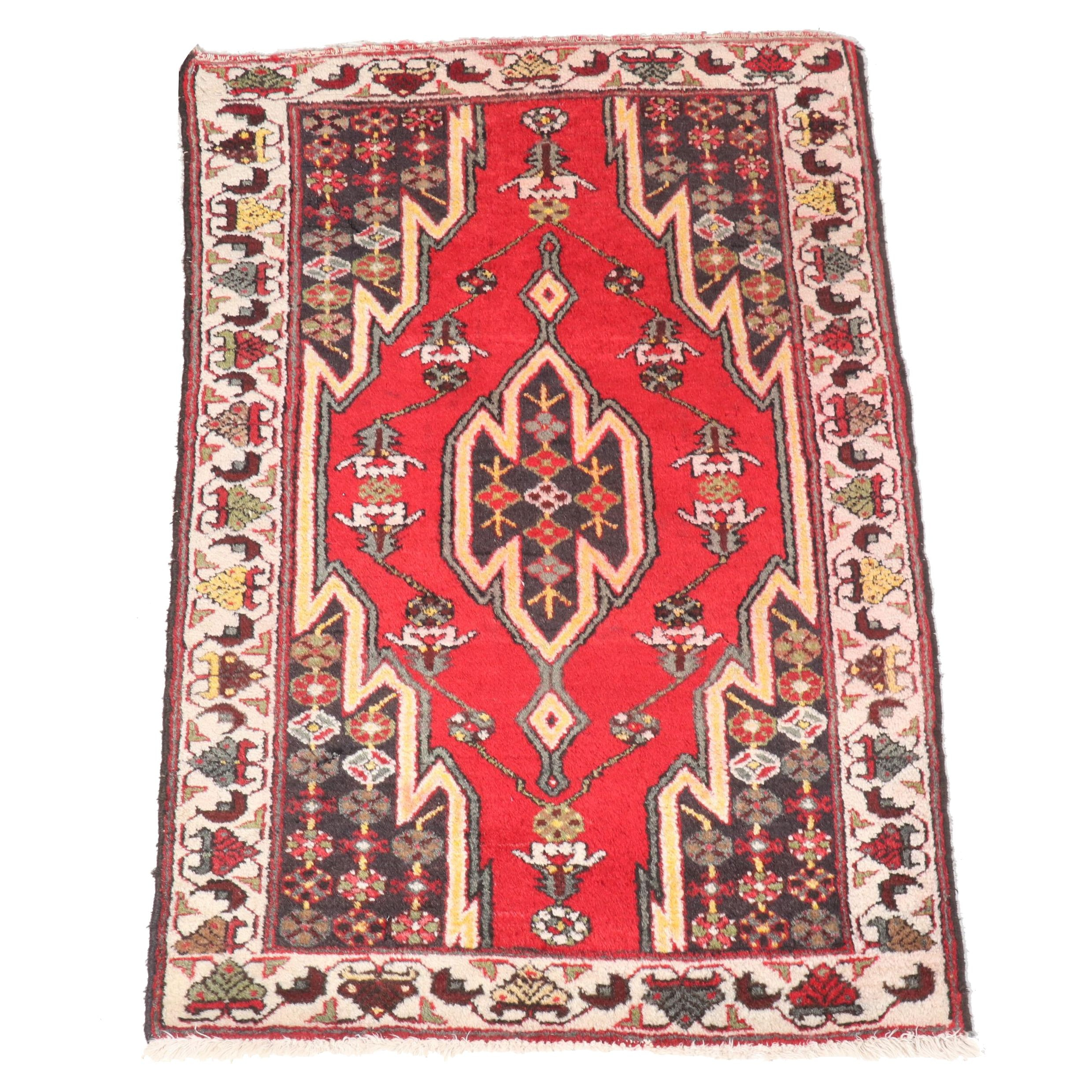Hand-Knotted Persian Maslaghan Wool Rug